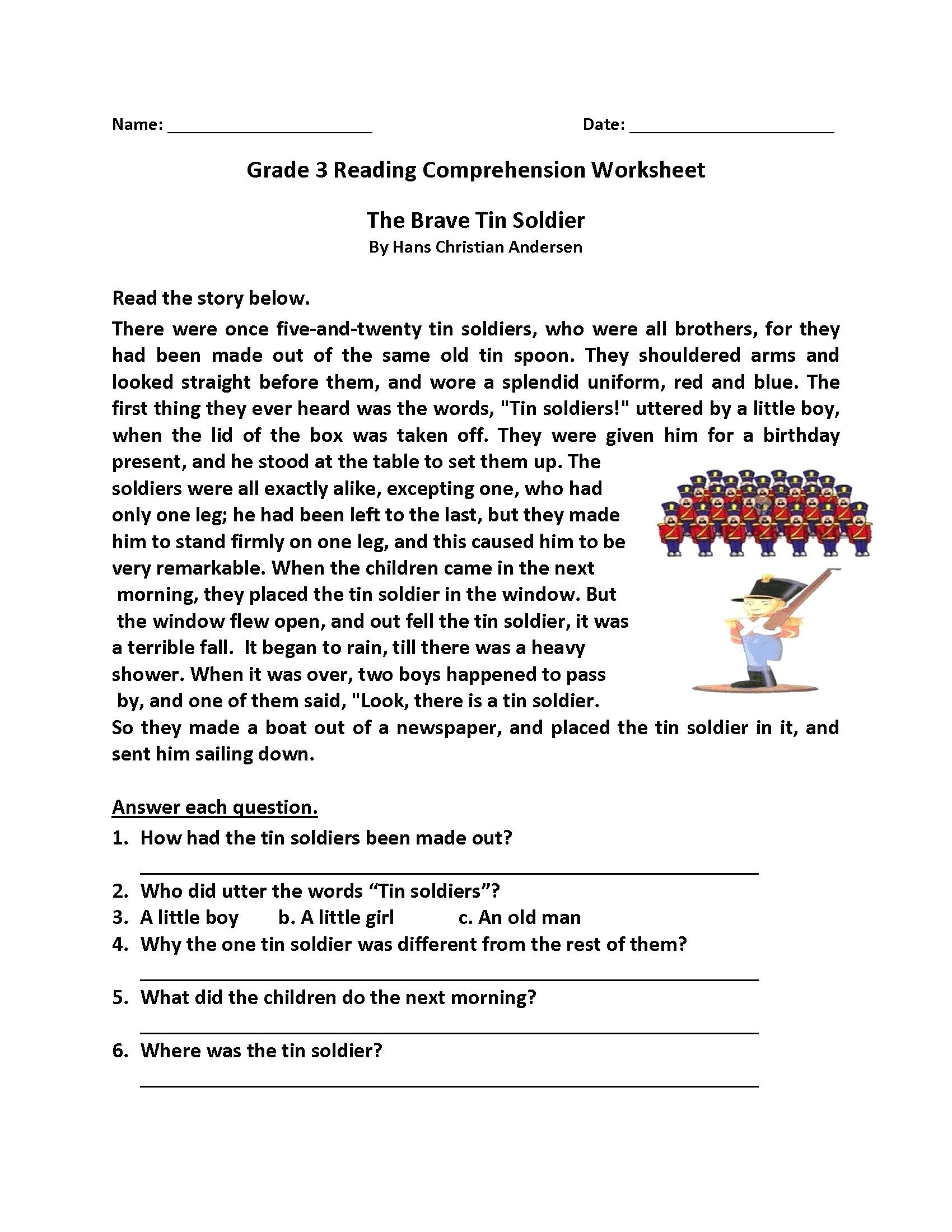 Comprehension Worksheets Grade 8