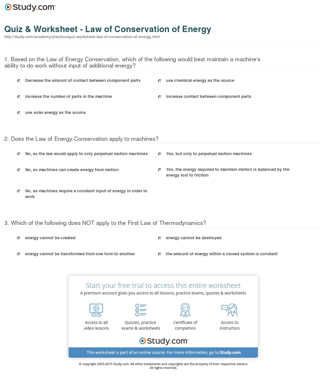 Law Of Conservation Of Energy Worksheet
