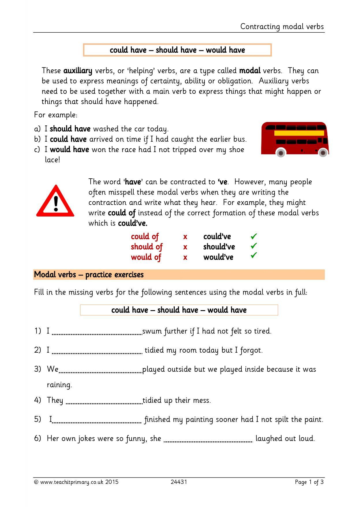 Modal Verbs Ks2 Worksheet
