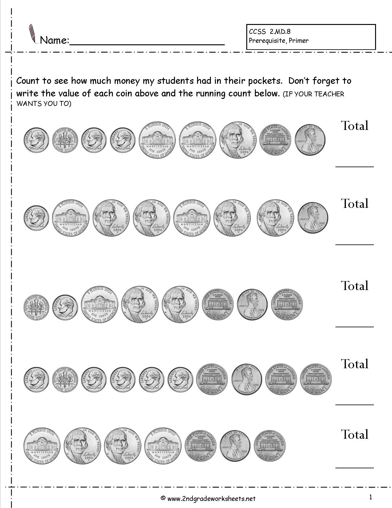 Money Recognition Worksheets