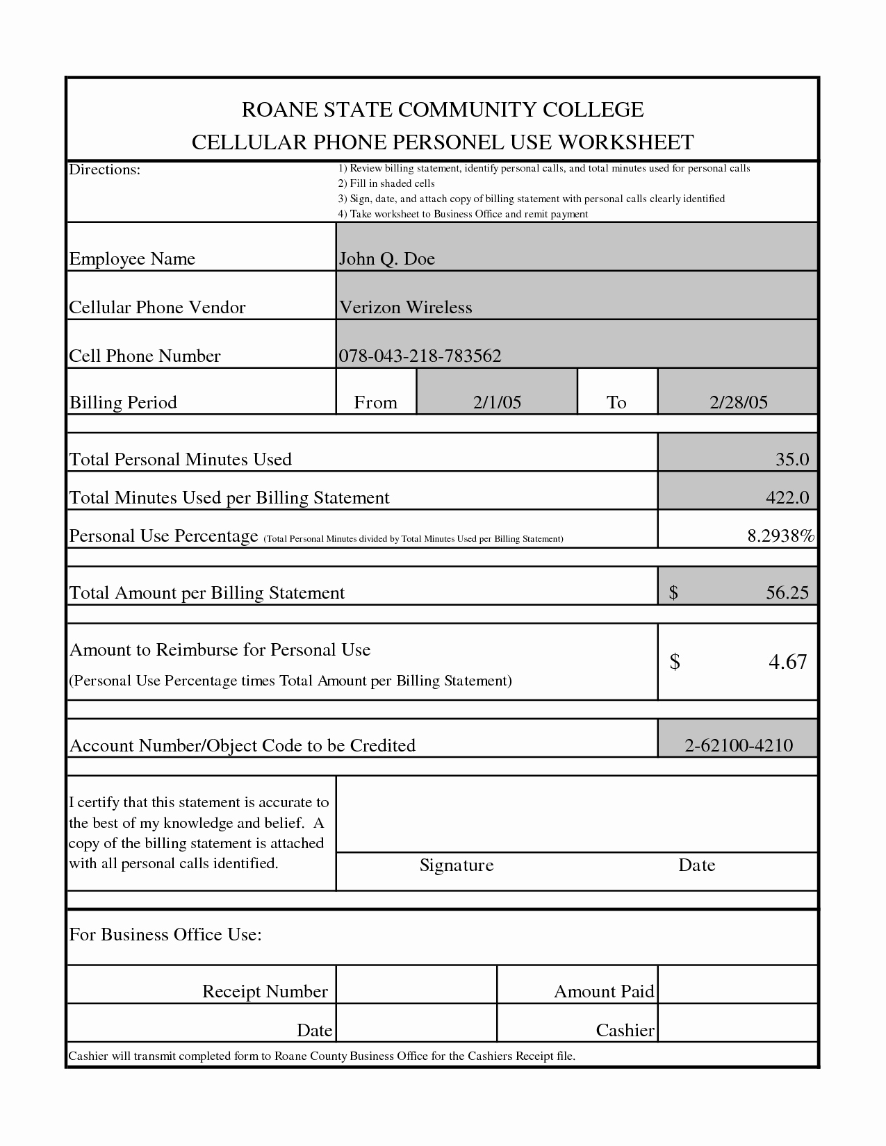 Credit Card Statement Worksheet