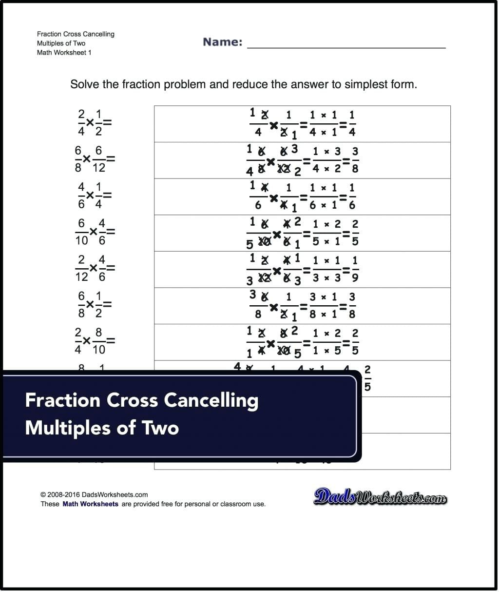 Cross Canceling Fractions Math Multiplying Fractions With