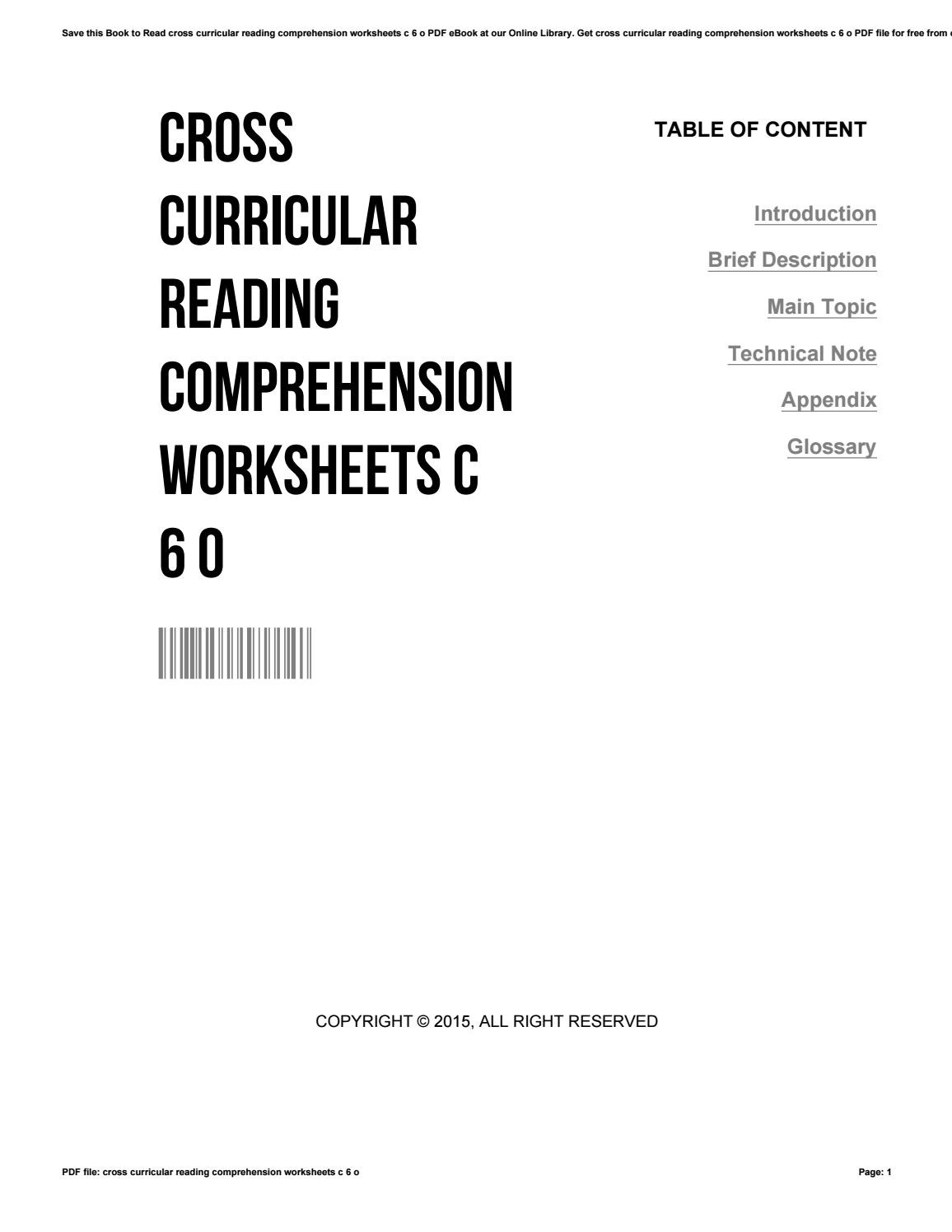 Cross Curricular Reading Comprehension Worksheets