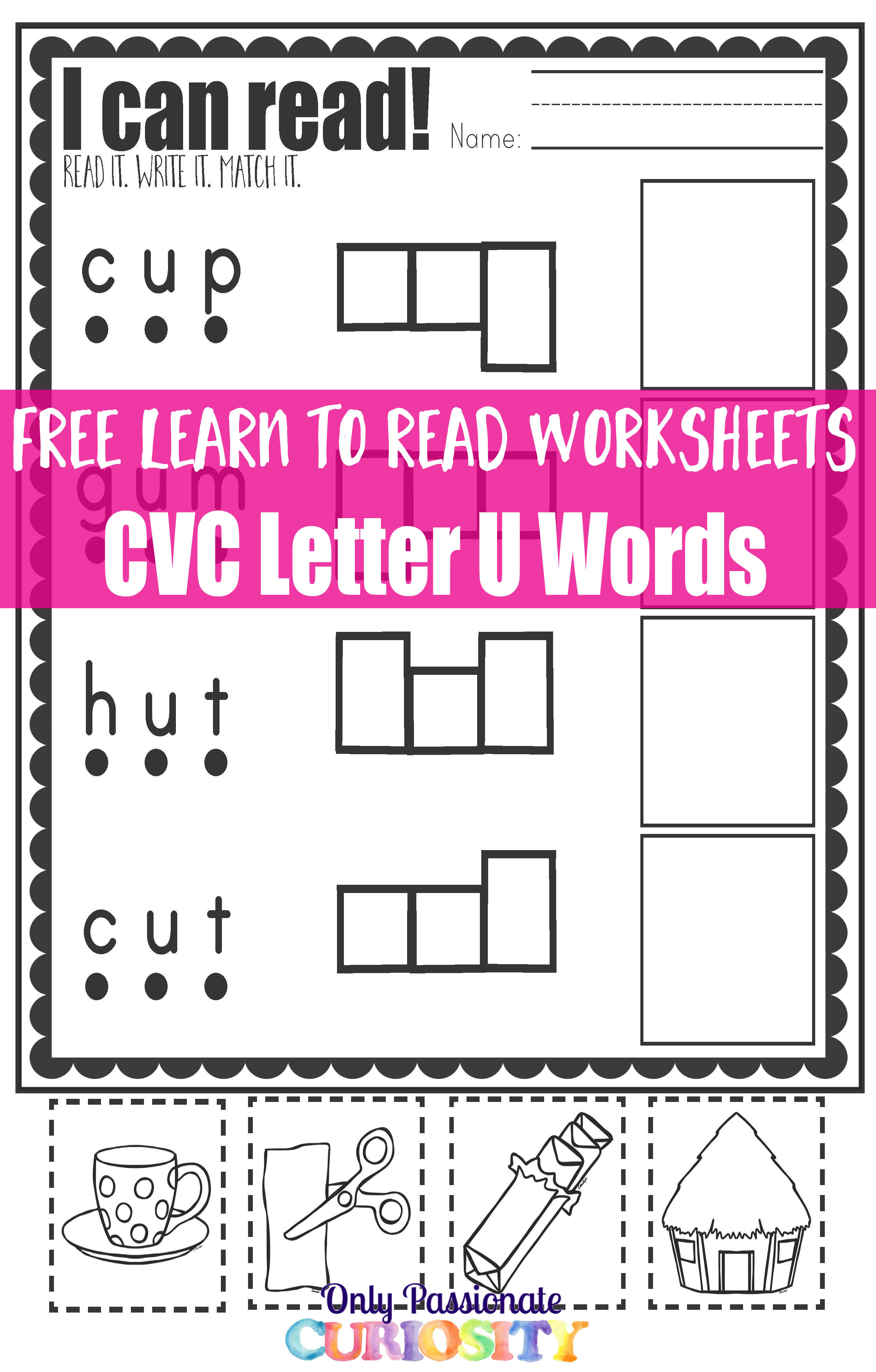 Cvc Worksheets Cut And Paste Letter U Only Passionate