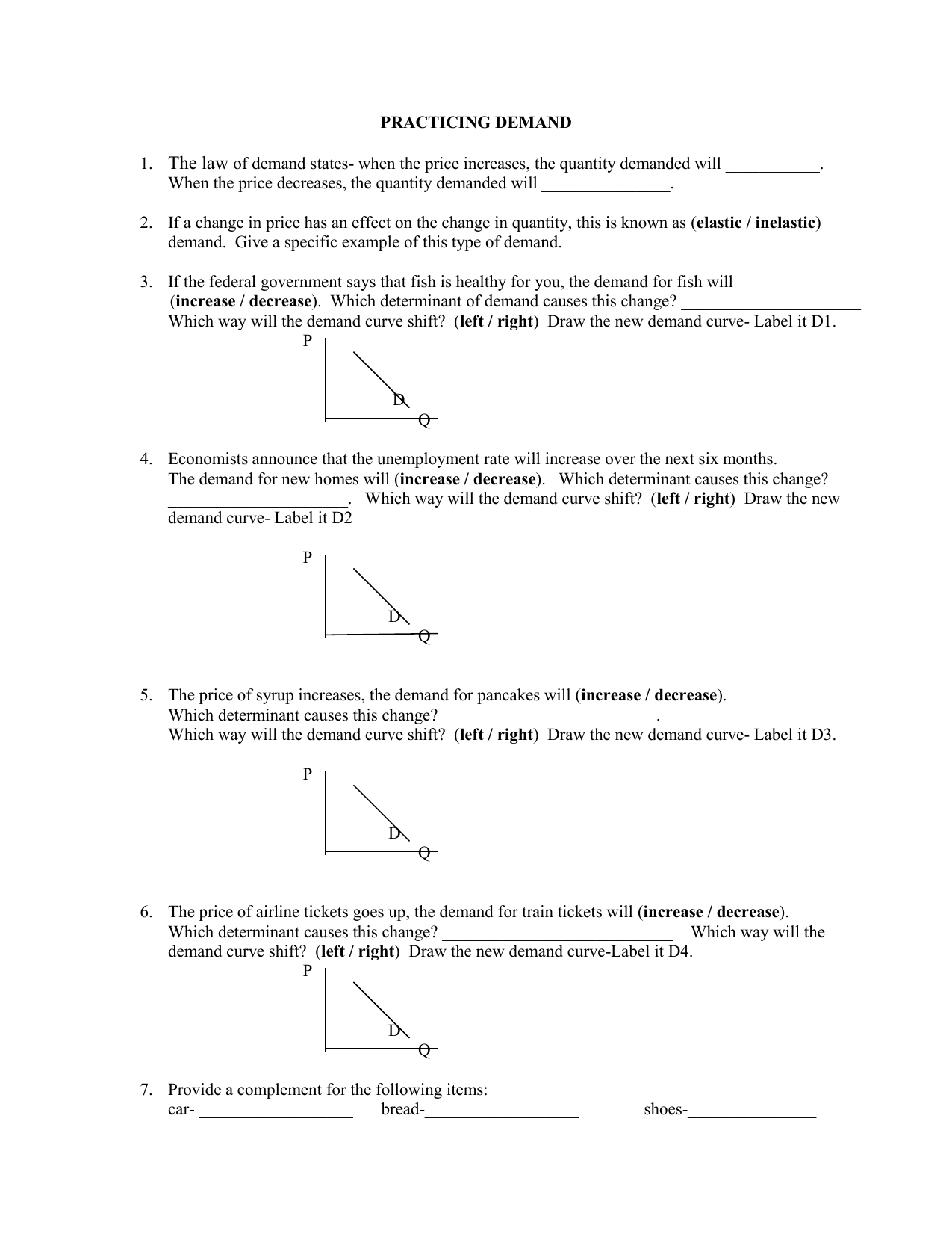 Reasons For Changes In Supply Worksheet Answers