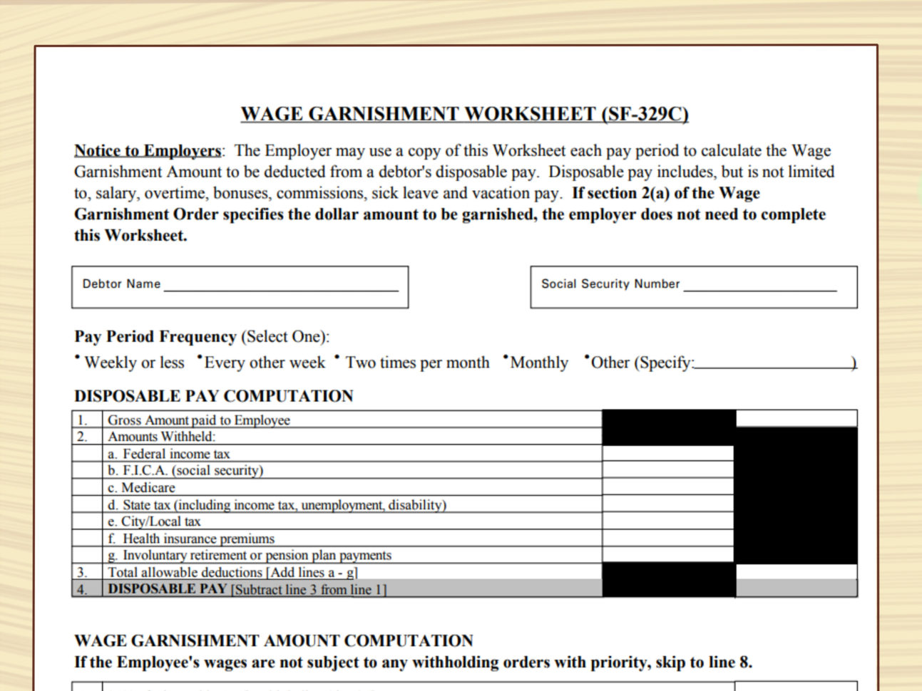 Department Of Education Garnishment Worksheet Best