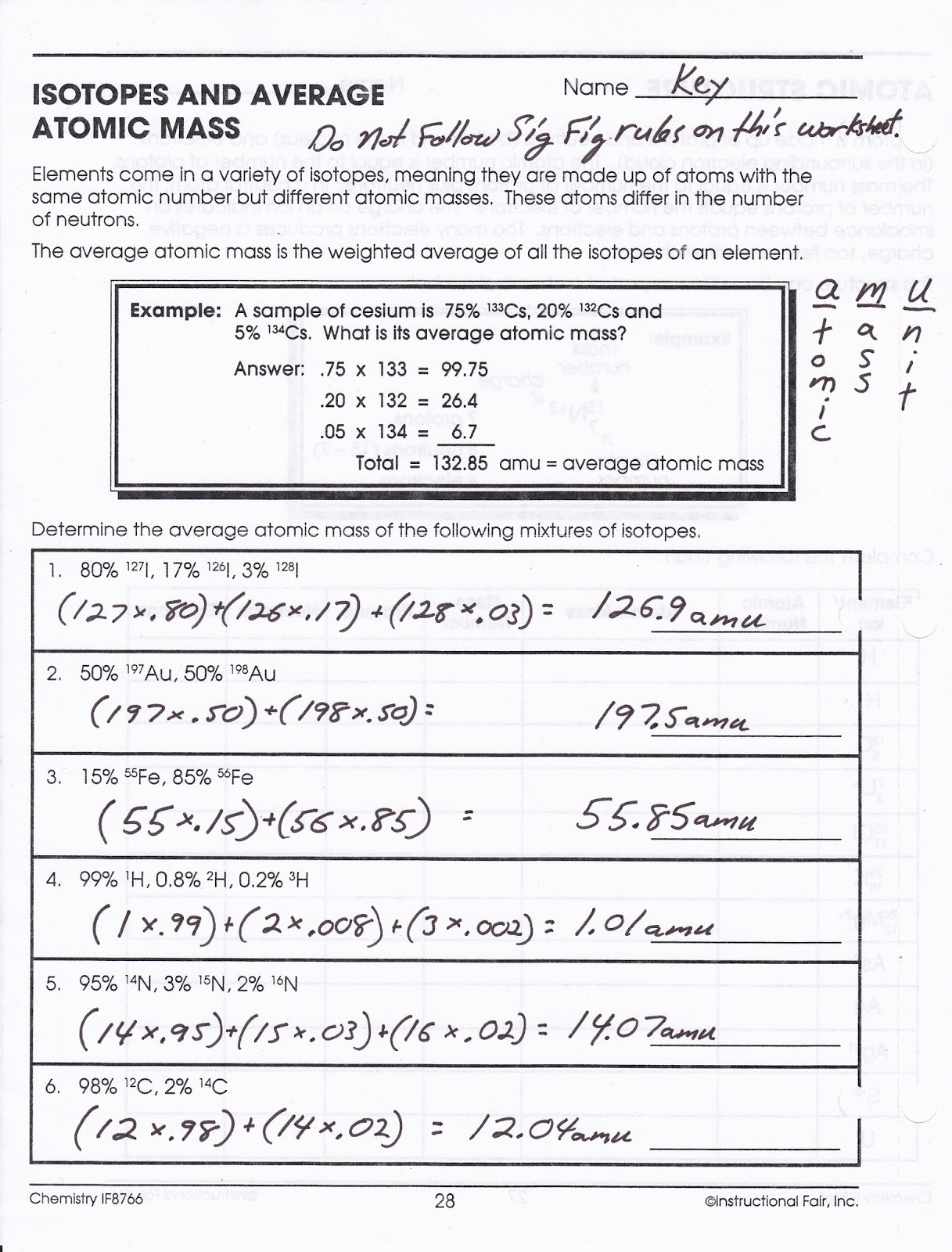 Determination Of Average Atomic Mass Worksheet For 10th