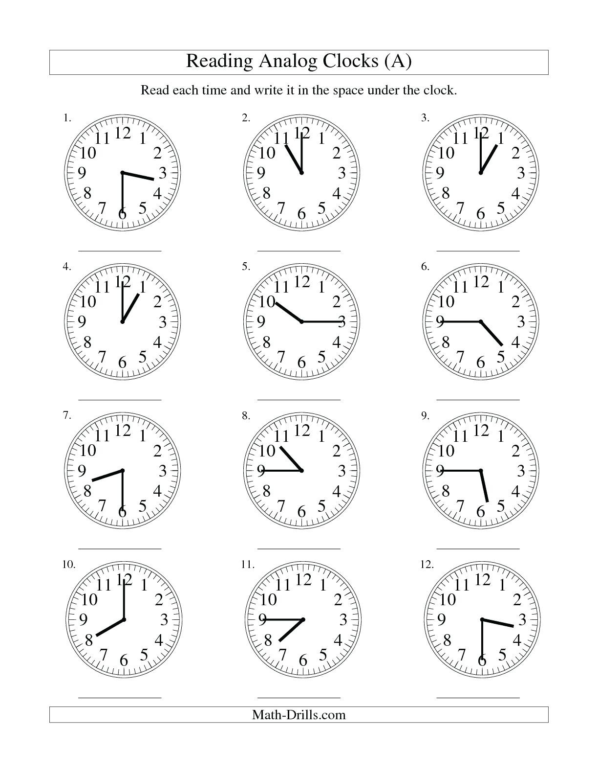 Digital Clock Worksheets