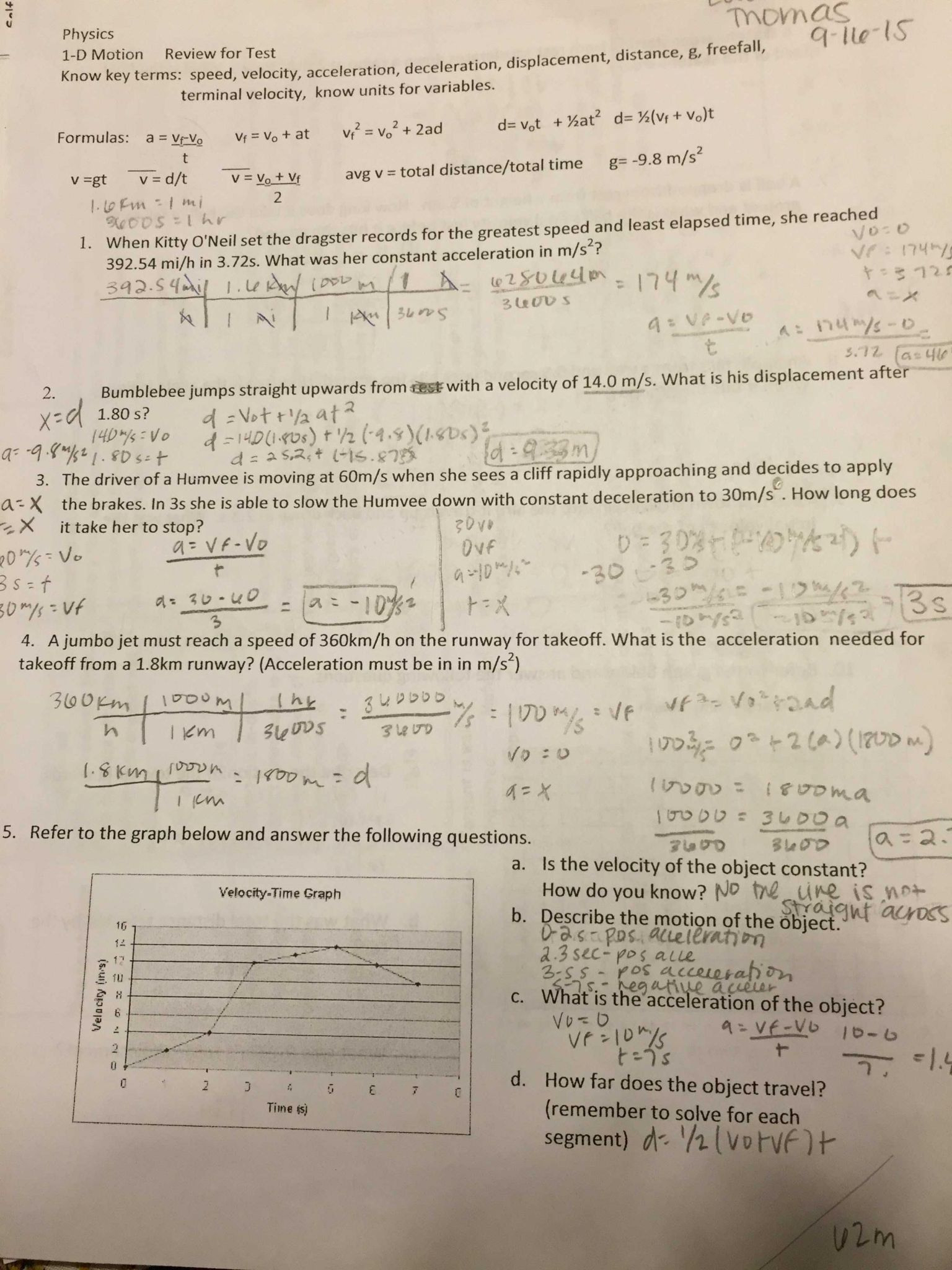 Displacement Velocity And Acceleration Worksheet Answers