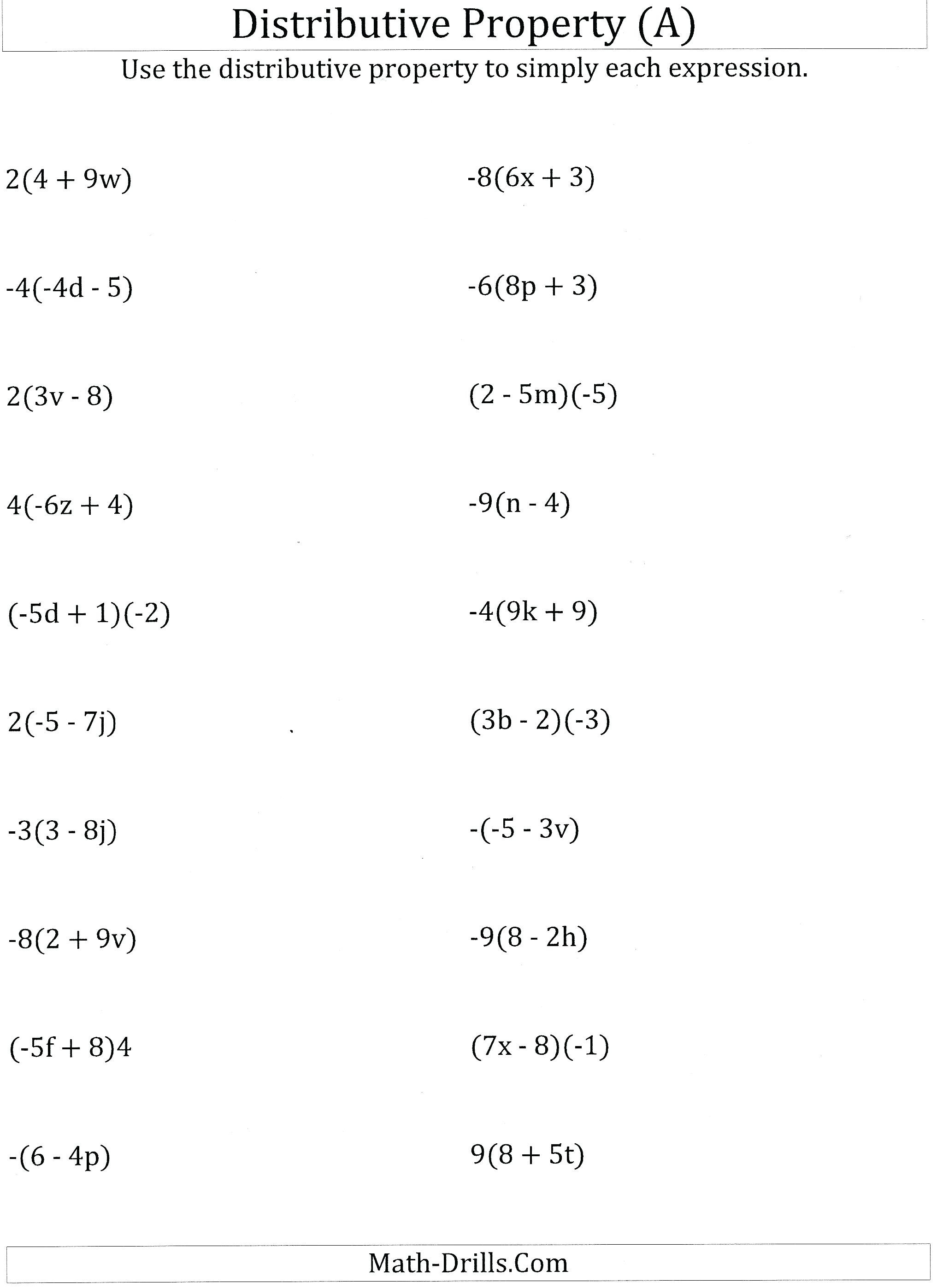 Distributive Property Expressions Math Worksheet Math