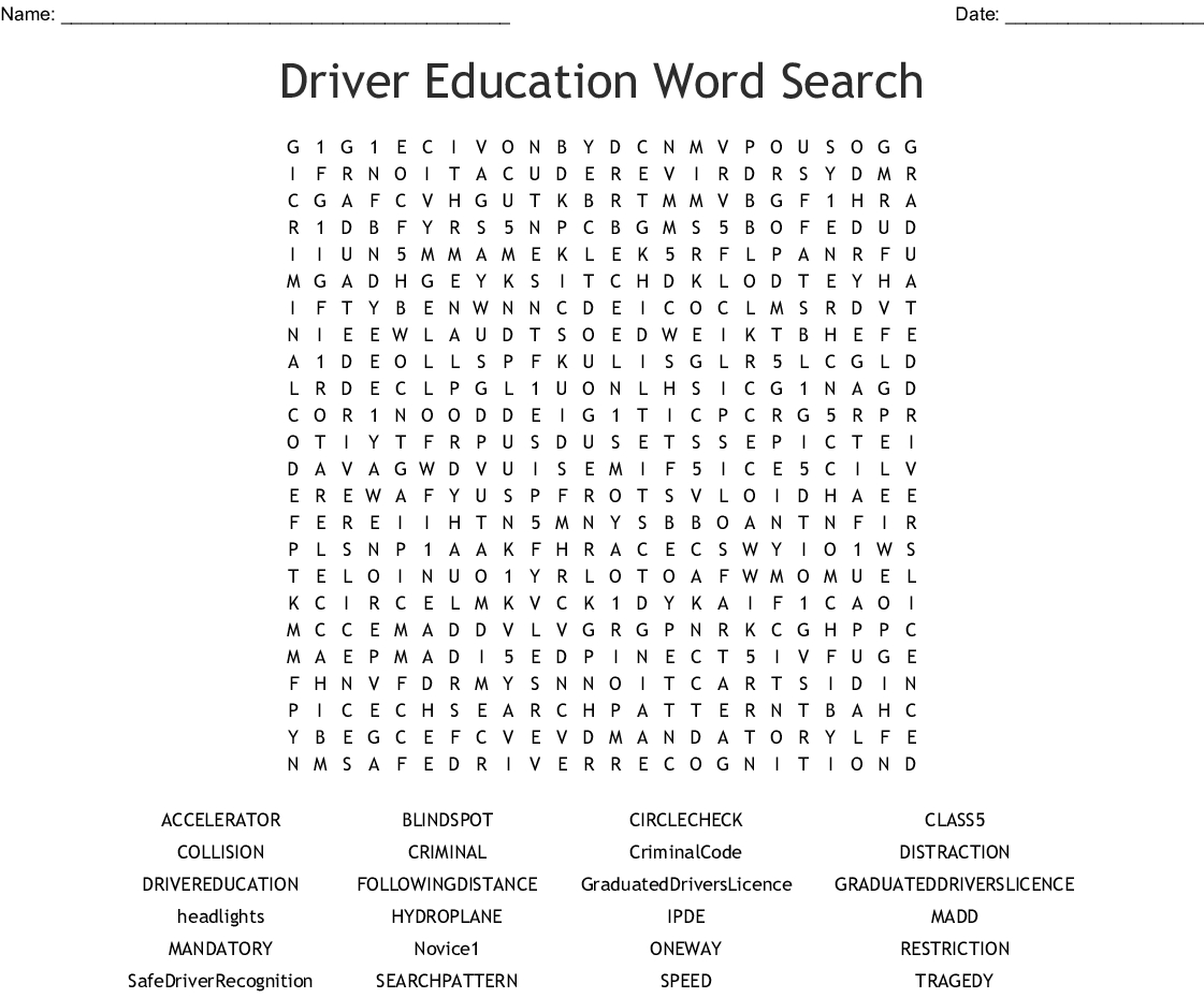 Printable Worksheets For Drivers Education