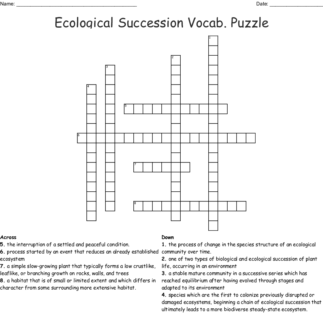 Ecological Succession Crossword Word
