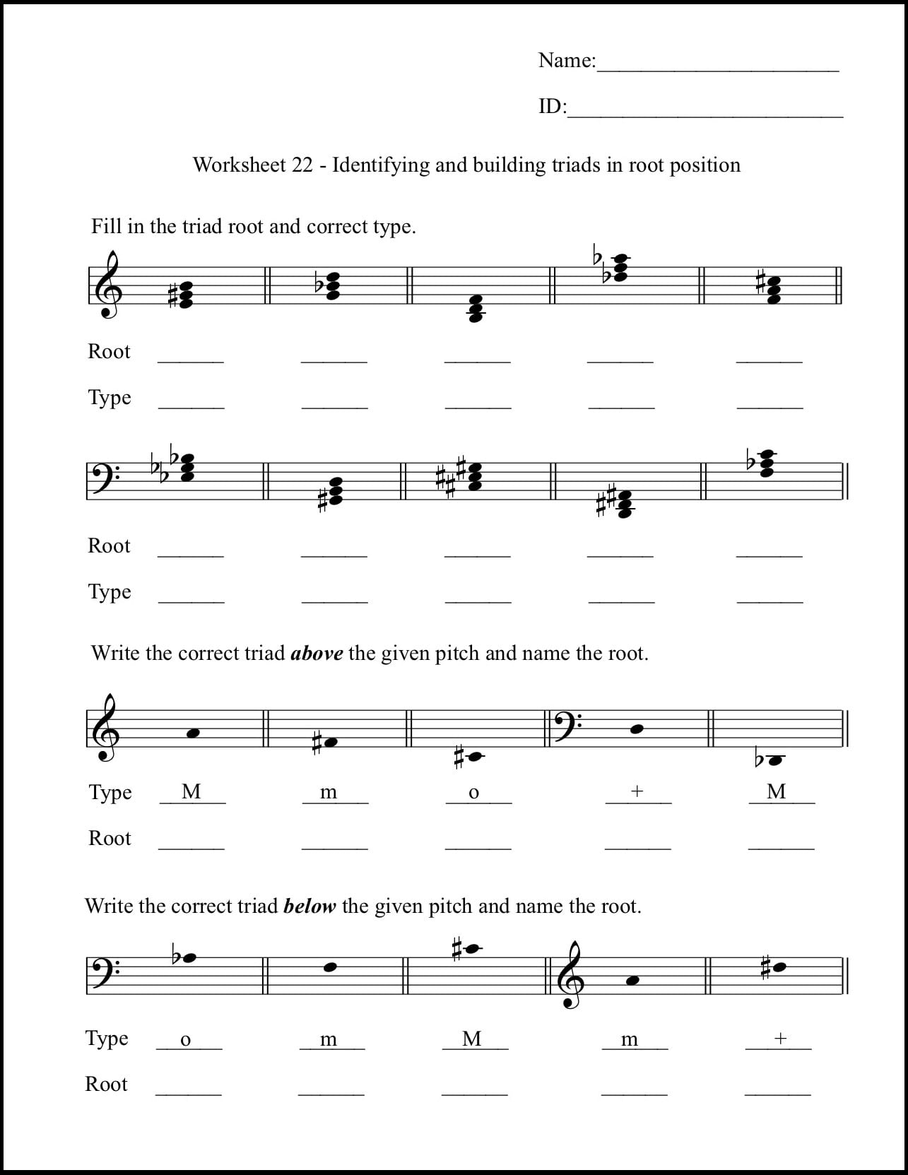 Music Theory For Beginners Worksheets