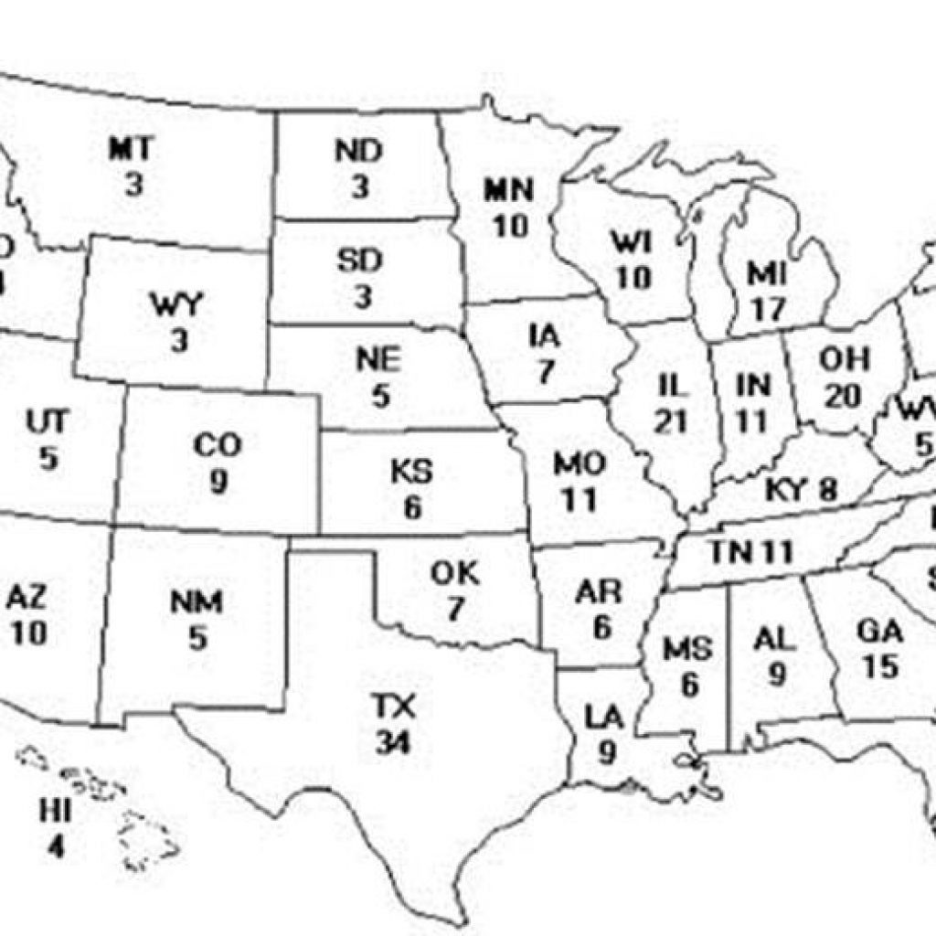 Blank Electoral College Map Sketch Coloring Page