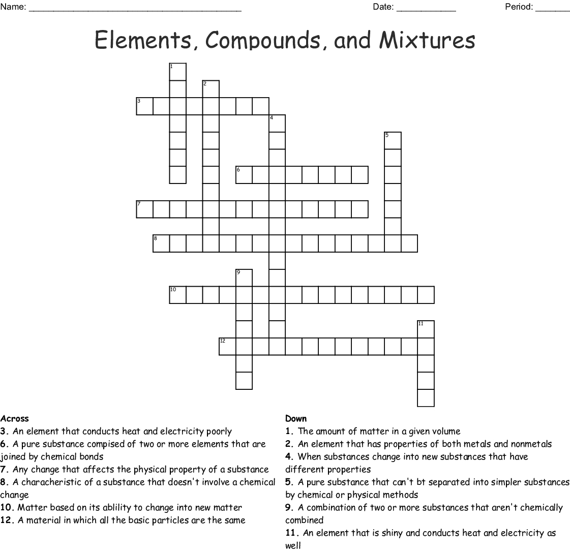 Elements Compounds And Mixtures Crossword Word