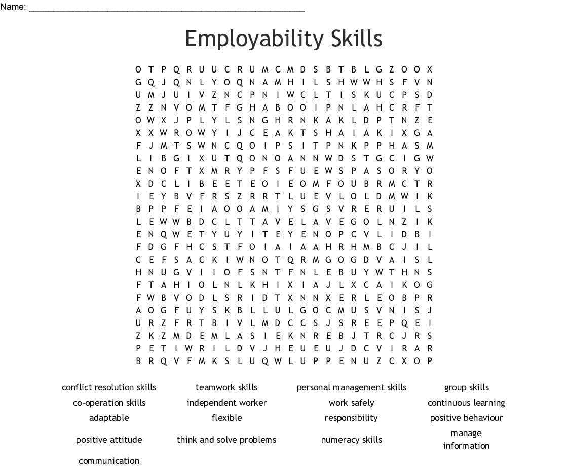 Employability Skills Word Search Word