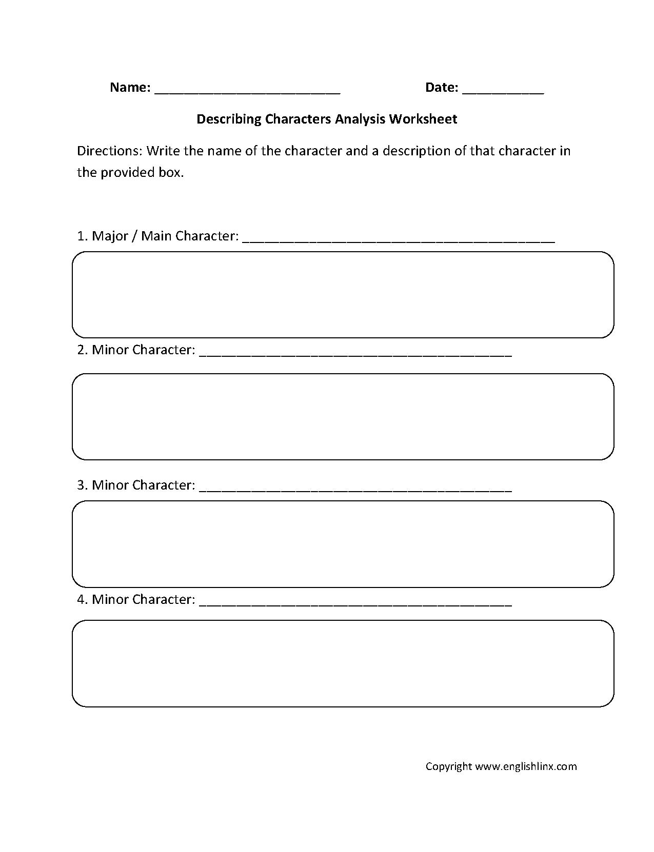 Character Traits Worksheet 3rd Grade