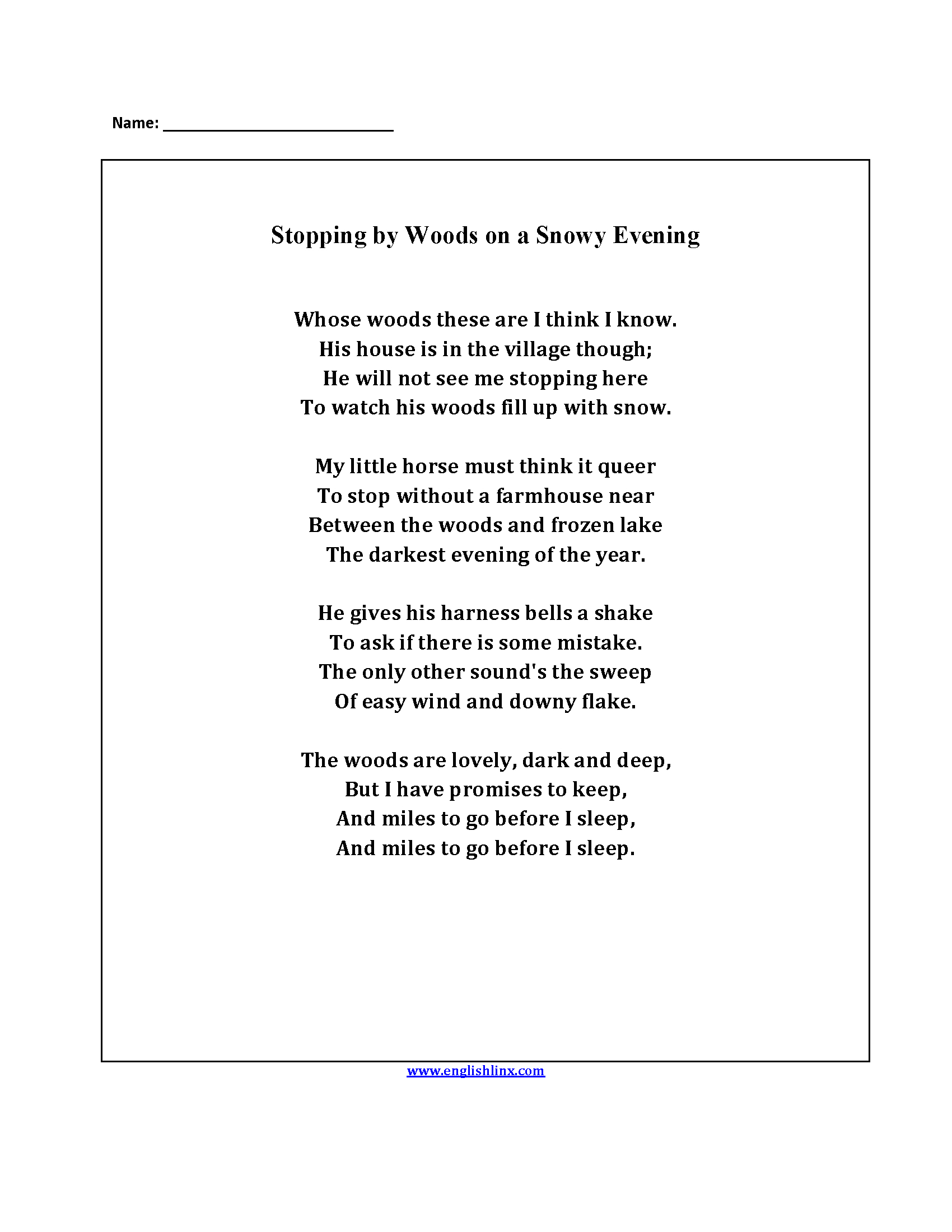 4th Grade Poetry Worksheets