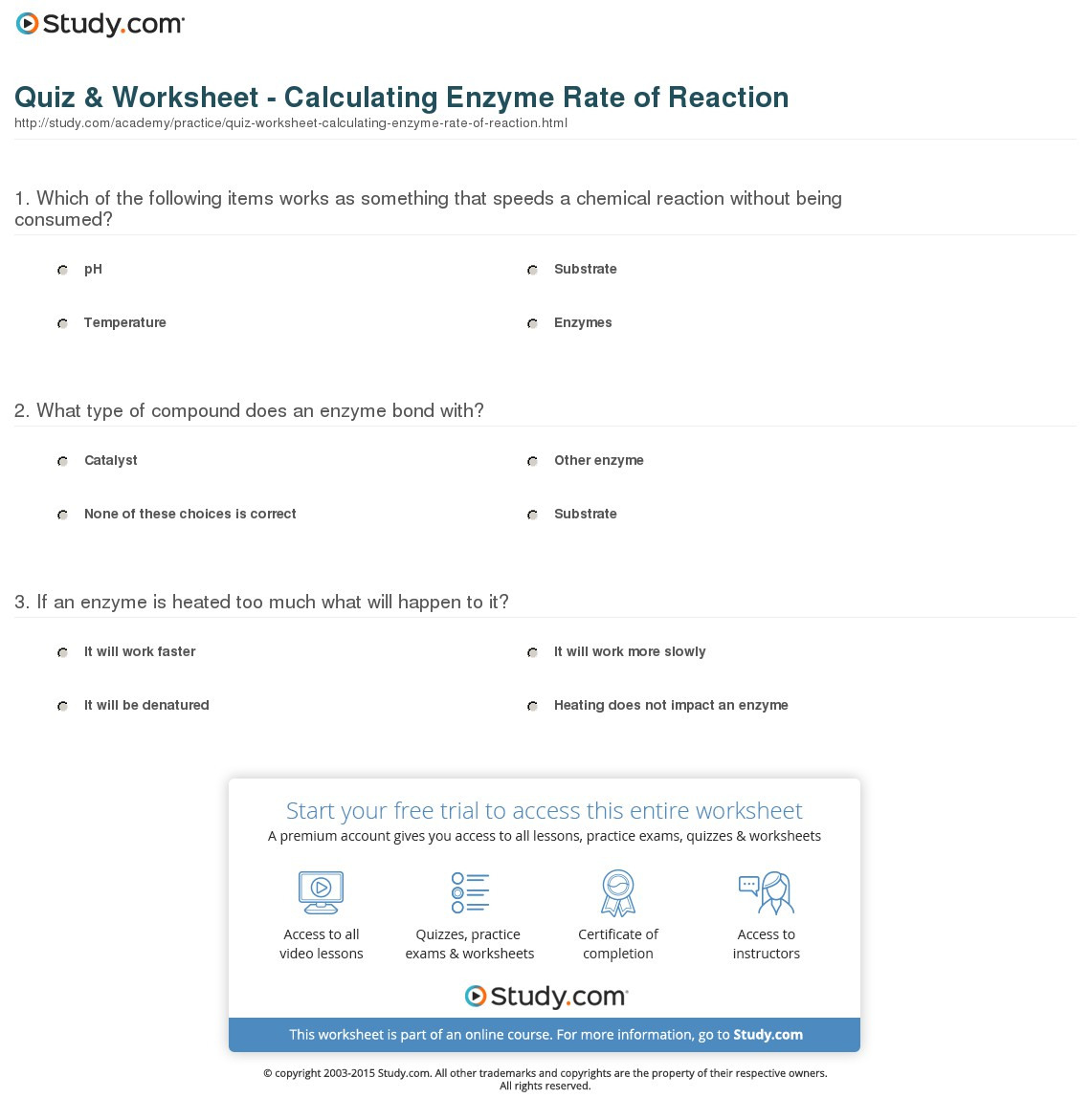 Enzyme Practice Worksheet Main Idea Worksheets