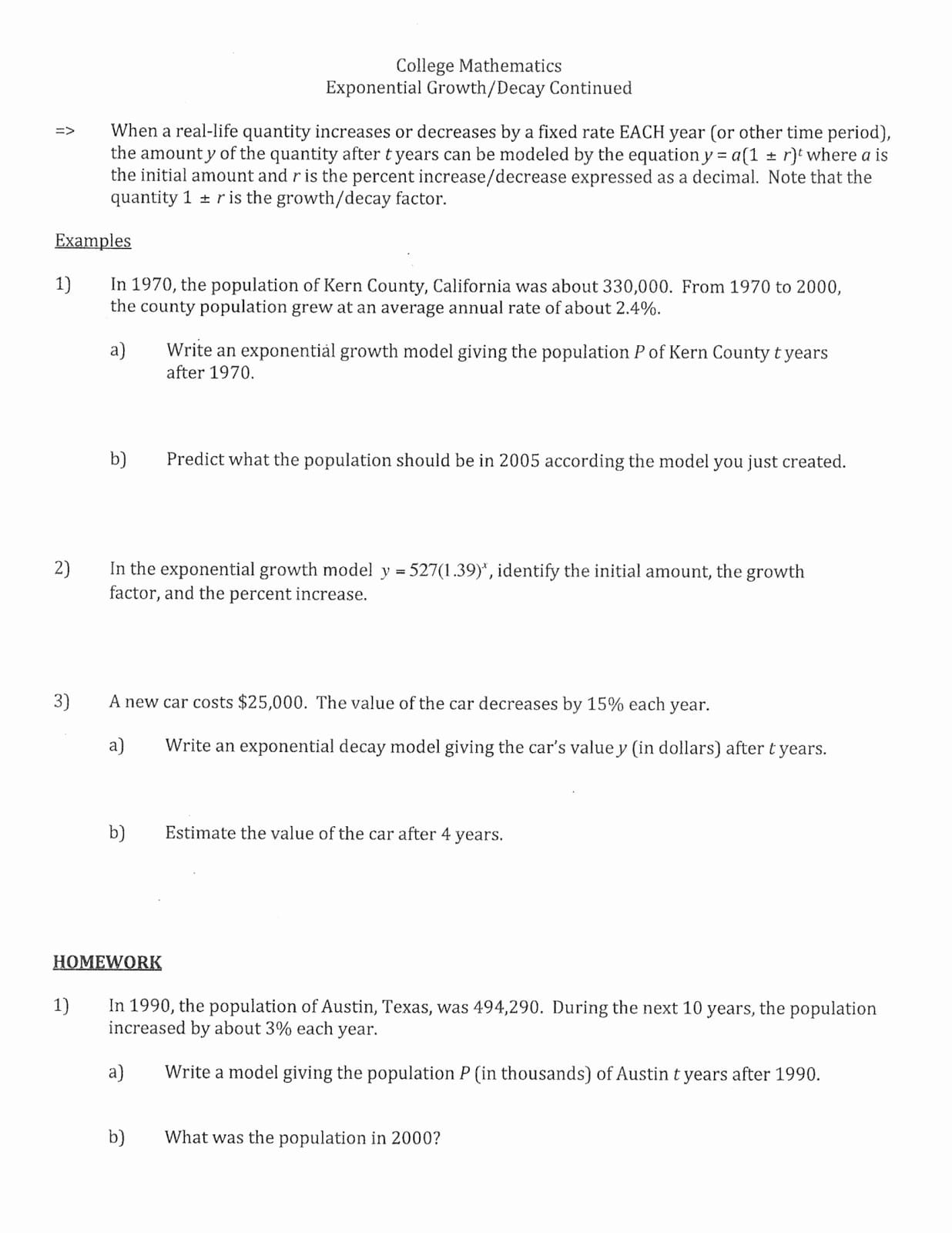 Exponential Growth And Decay Word Problems Worksheet