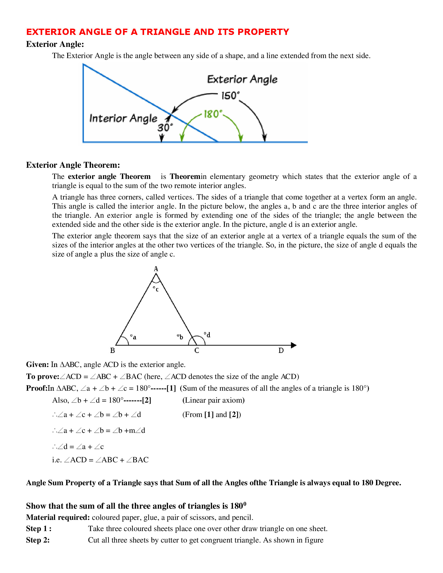 Exterior Angle Of A Triangle And Its Property Worksheet