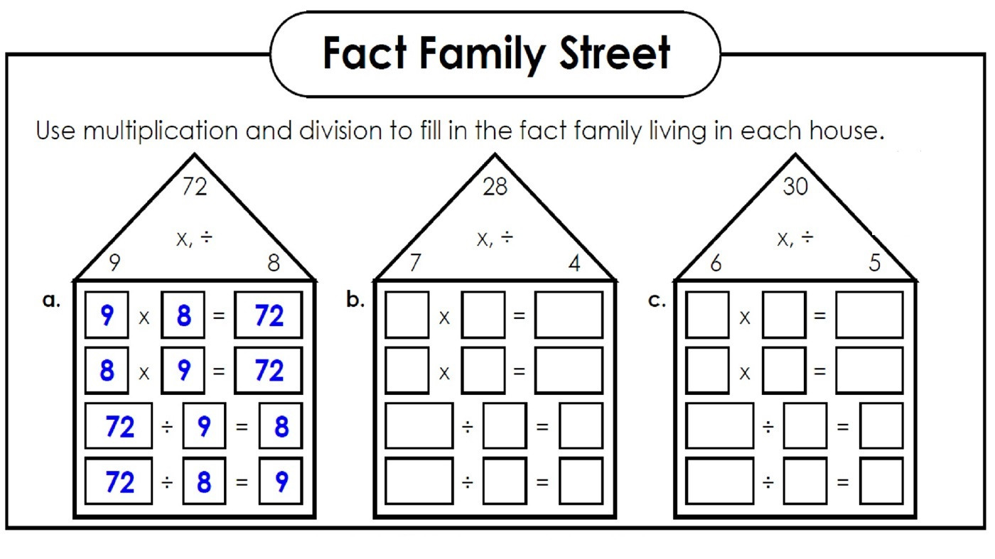 Fact Families Worksheets Printable Activity Shelter