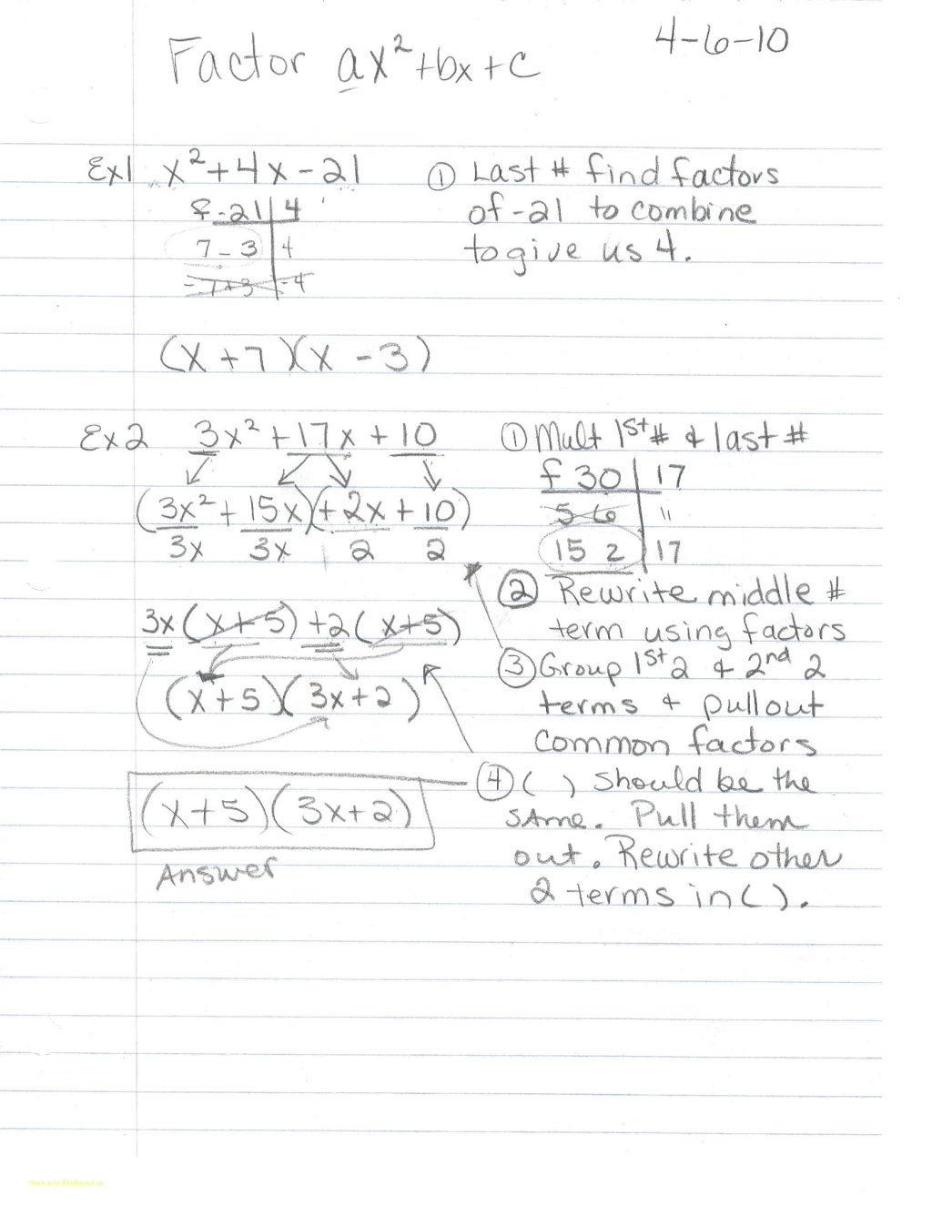 Factoring Trinomials Of The Form Ax2 Bx Printables