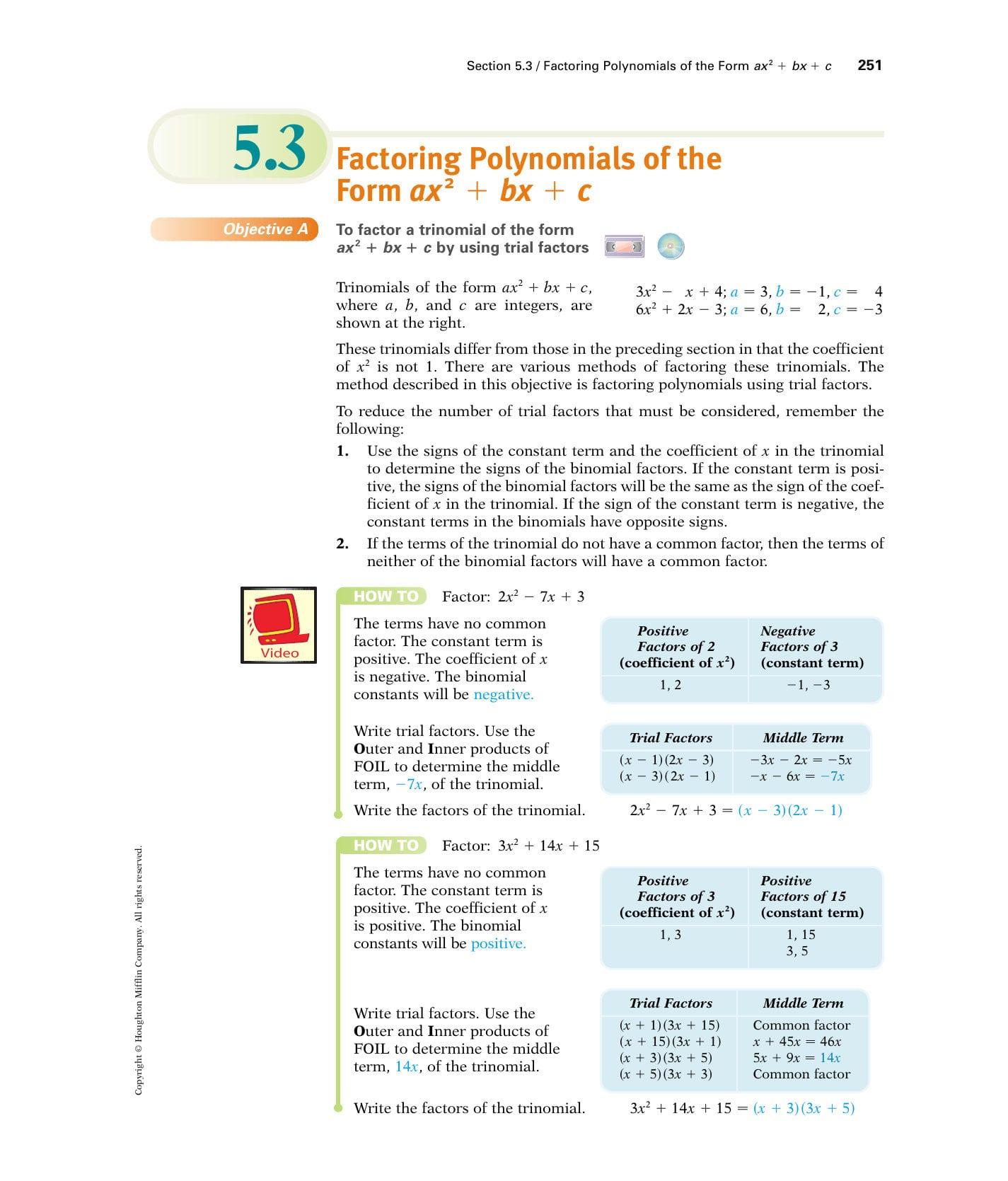 Factoring Trinomials Of The Form Ax2bxc Math Bx Ax2