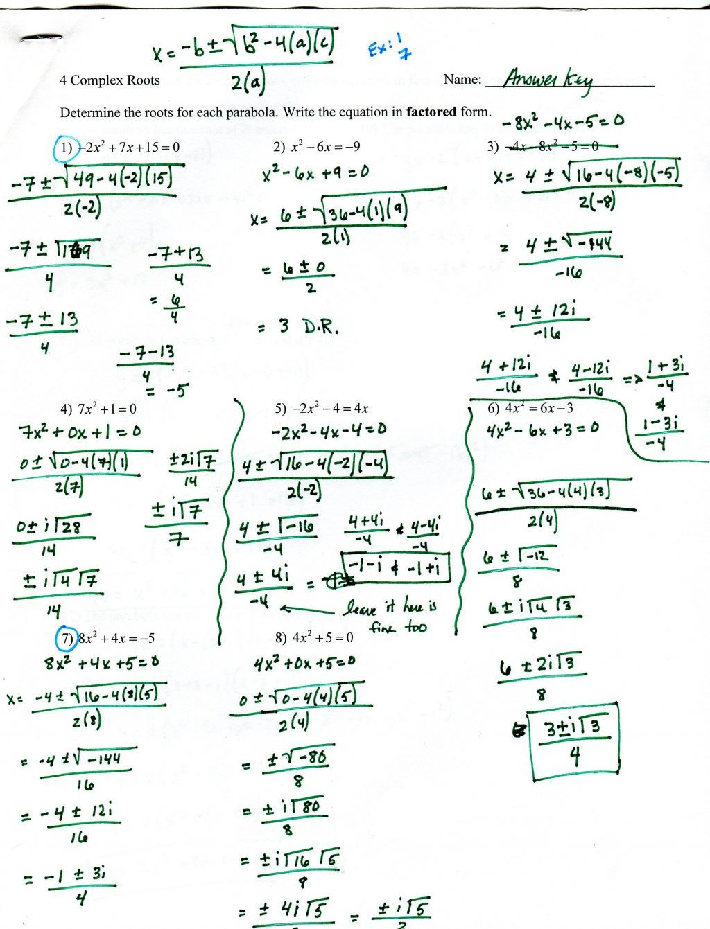 Factoring Trinomials Worksheet With Answer Key Integers