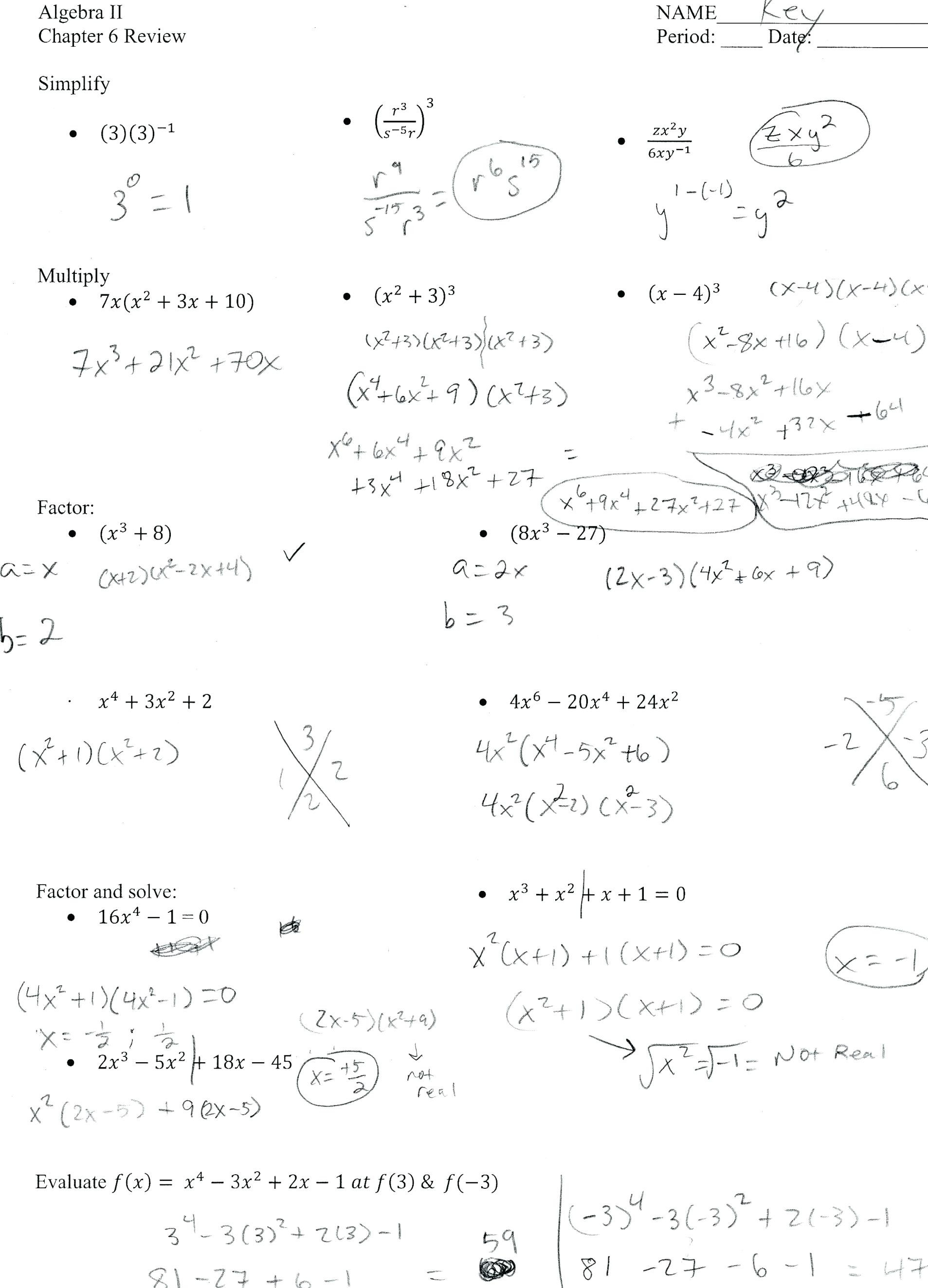 Factoring Worksheet With Answers Math Worksheets Factoring