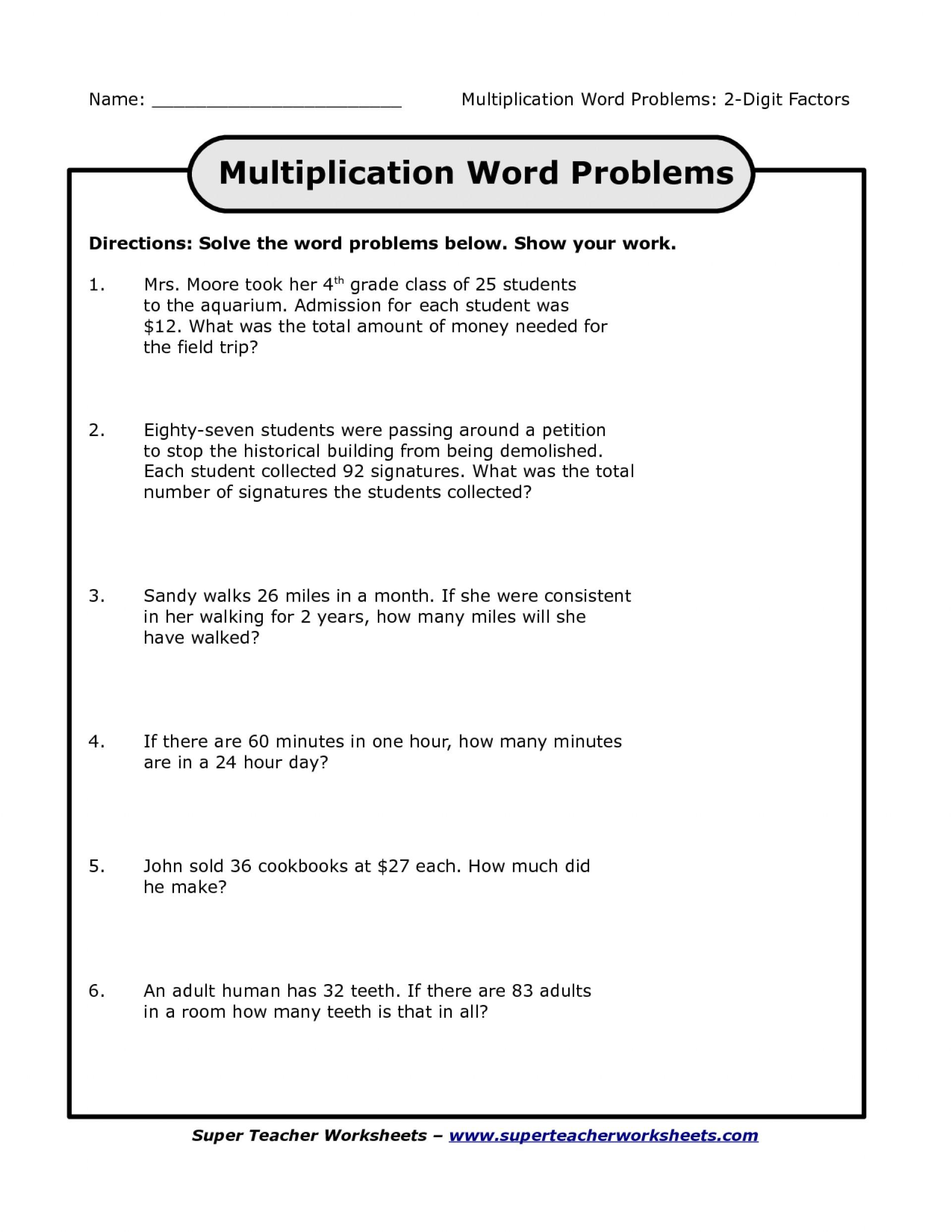 Fantastic Free Printable Third Grade Math Word Problems