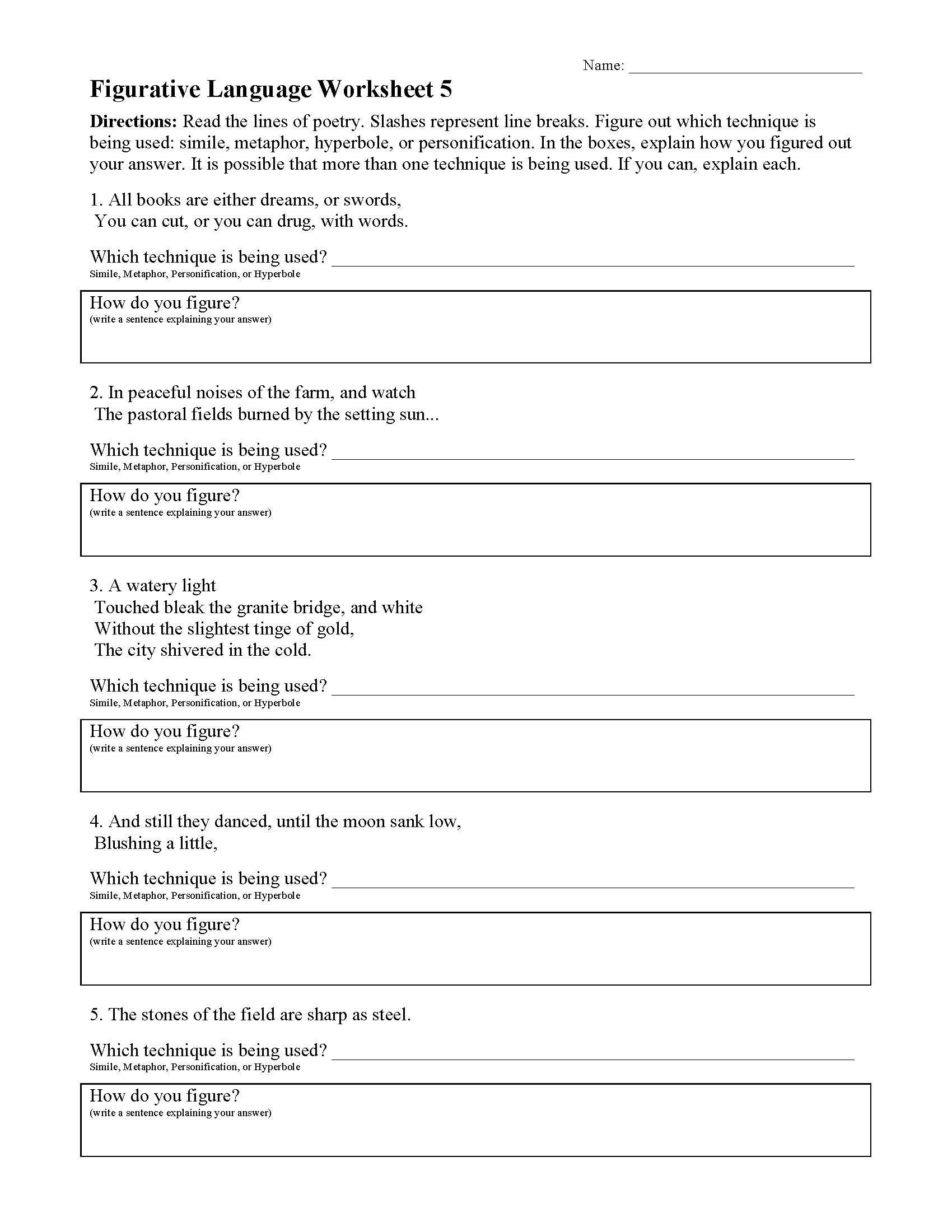 Using Figurative Language Worksheet