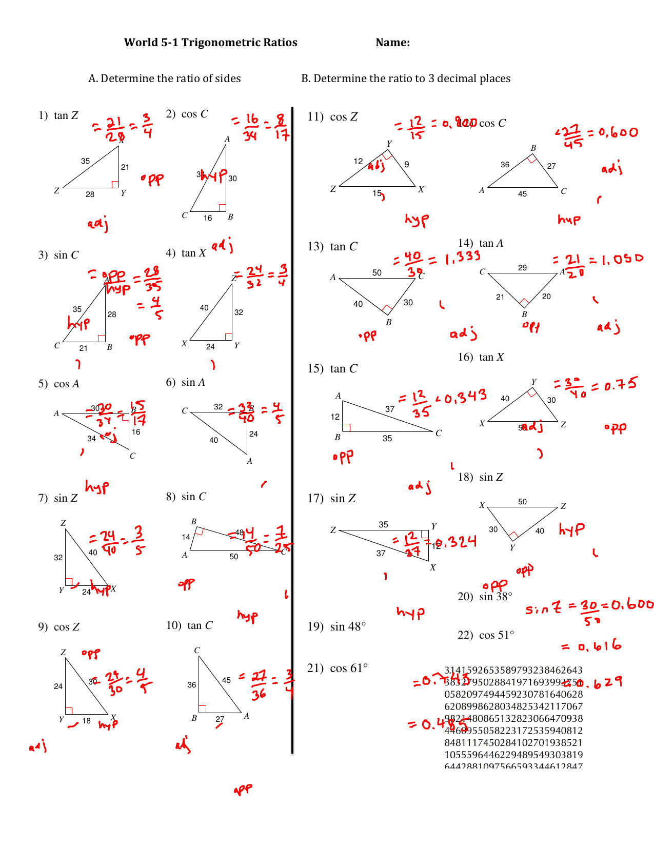 Find The Value Of Each Trigonometric Ratio 11 Cos Z 13 Tan