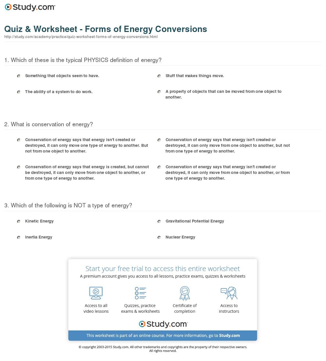 Forms Of Energy Worksheet Answer Key Multiplication