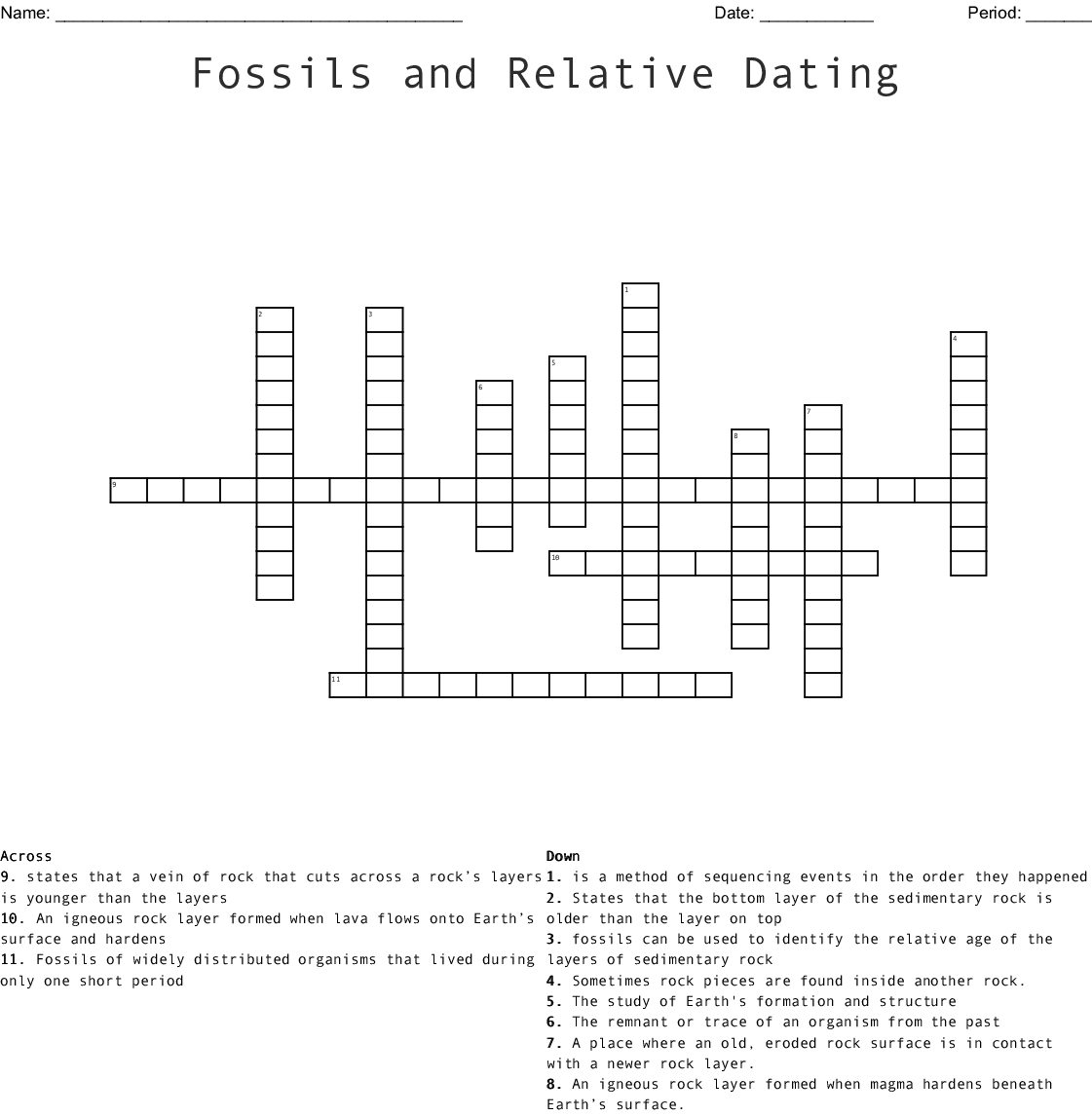 Fossils And Relative Dating Crossword Word