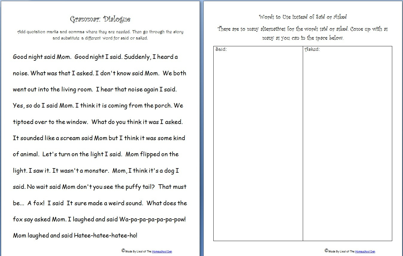 Free Grammar Practice Sheet Quotation Marks Saidasked