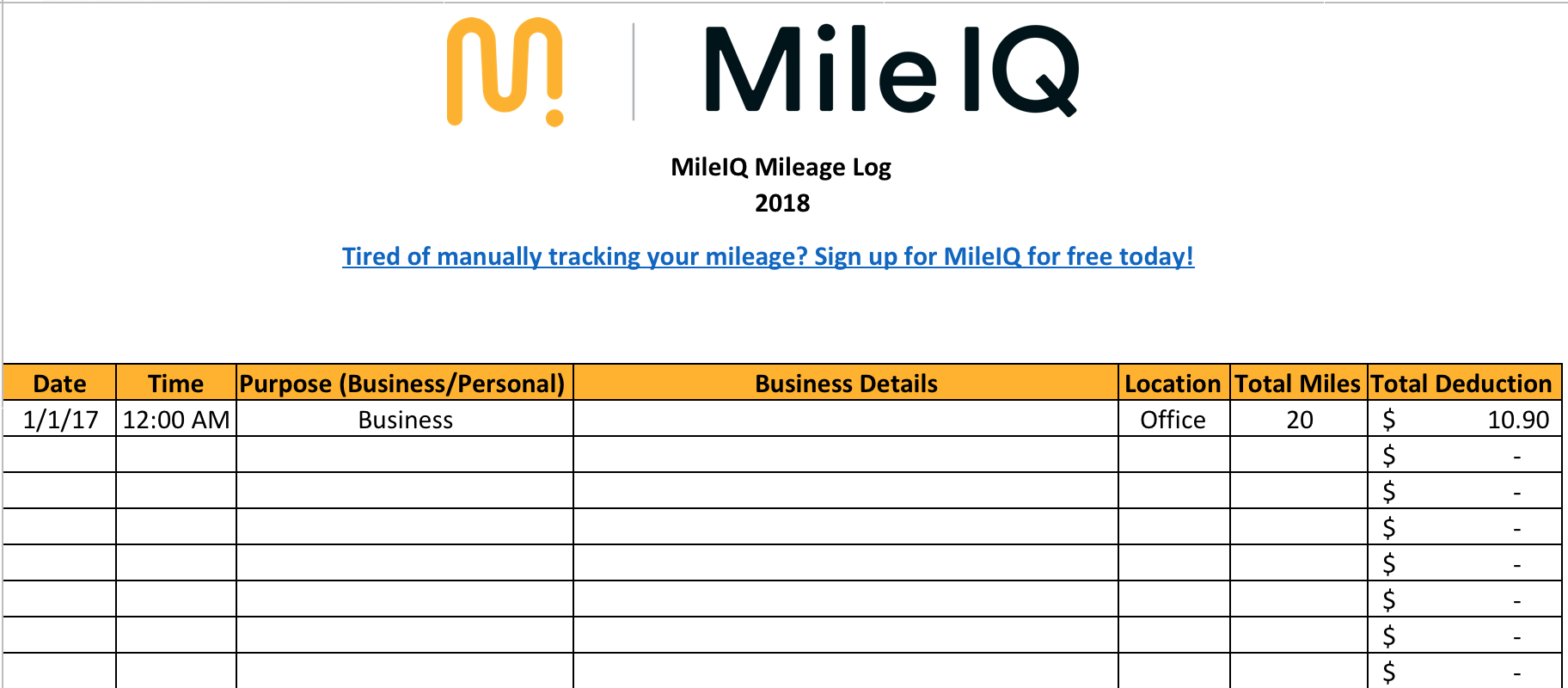Free Mileage Log For Taxes Track Business Miles Uk