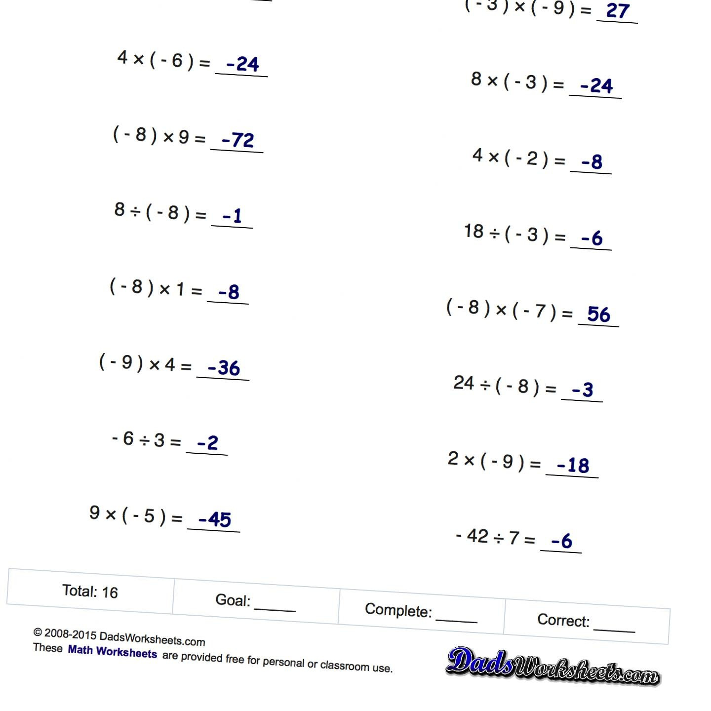Free Printable 8th Grade Math Worksheets With Answer Key