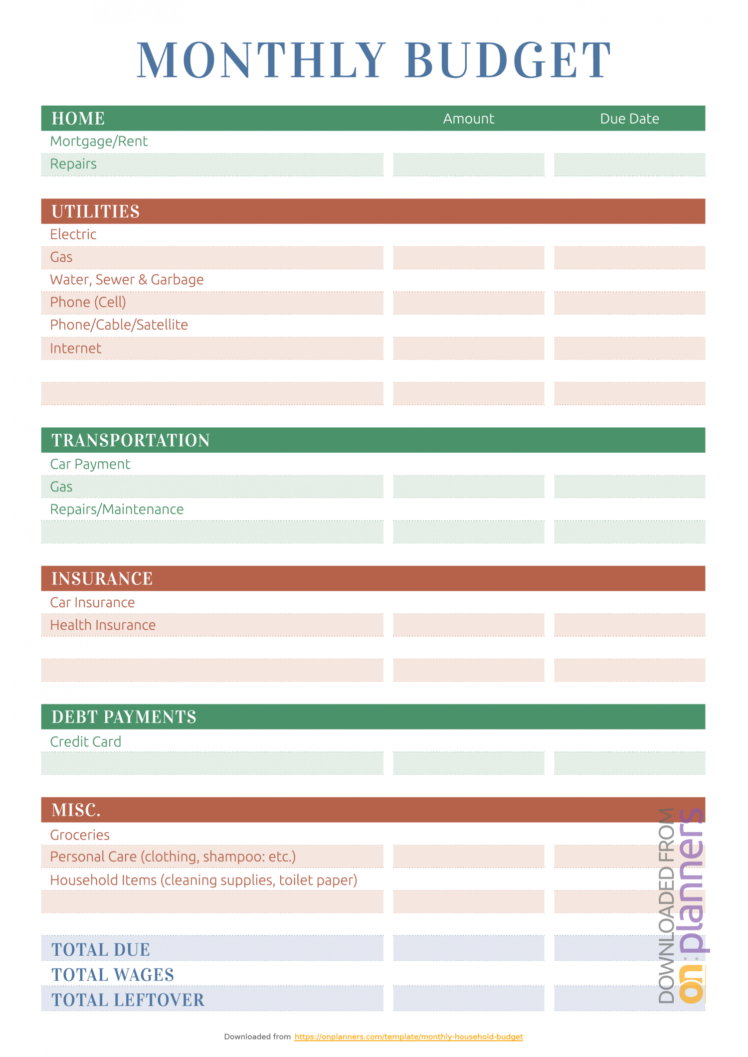 Household Budget Worksheets