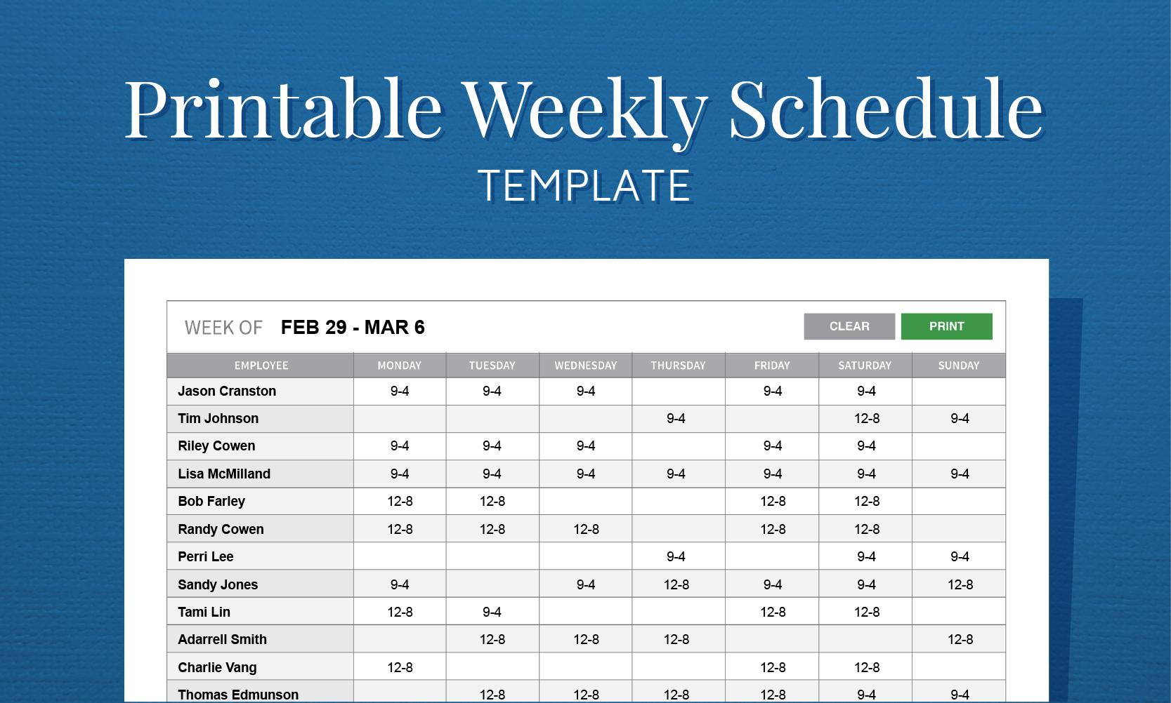 Employee Schedule Worksheet