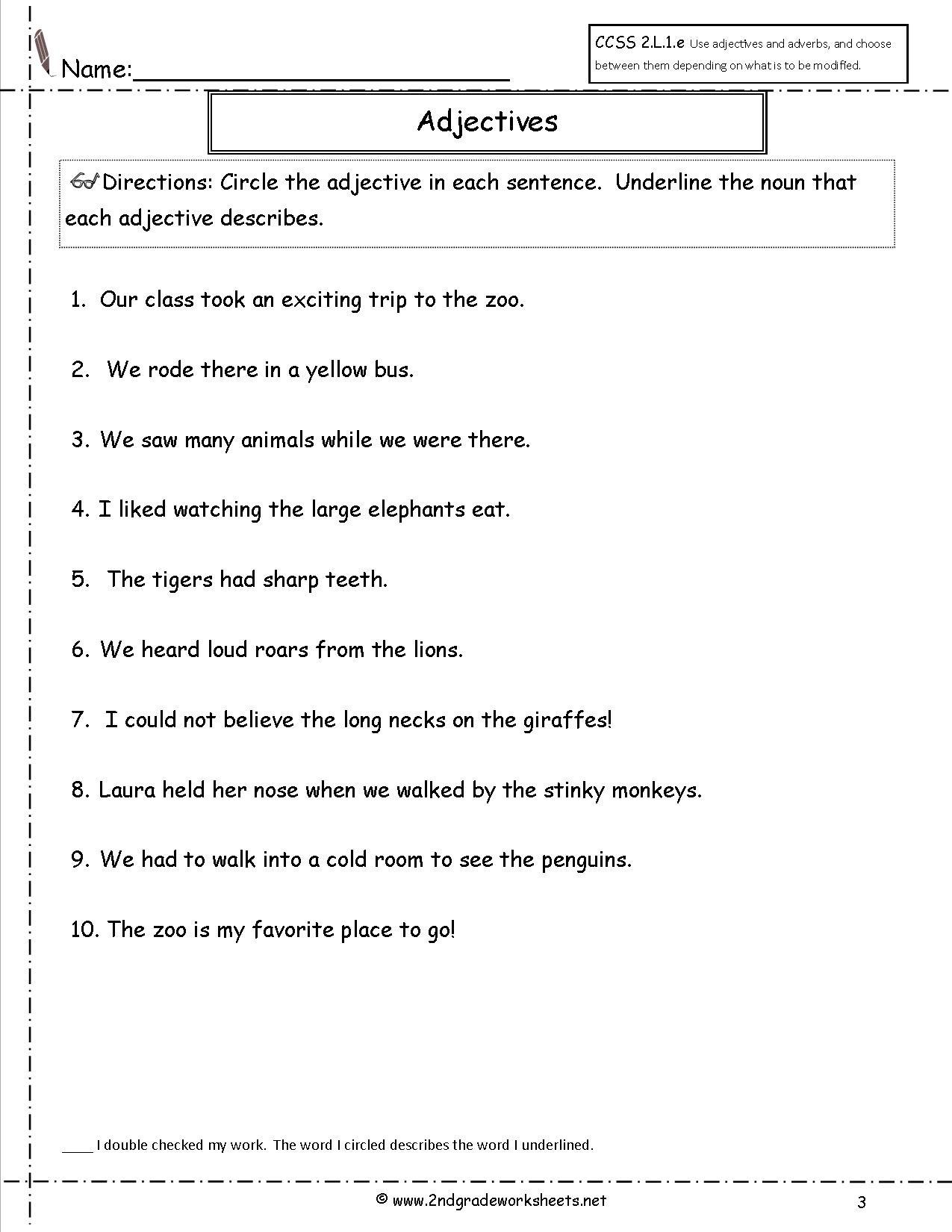 Identifying Adjectives Worksheet