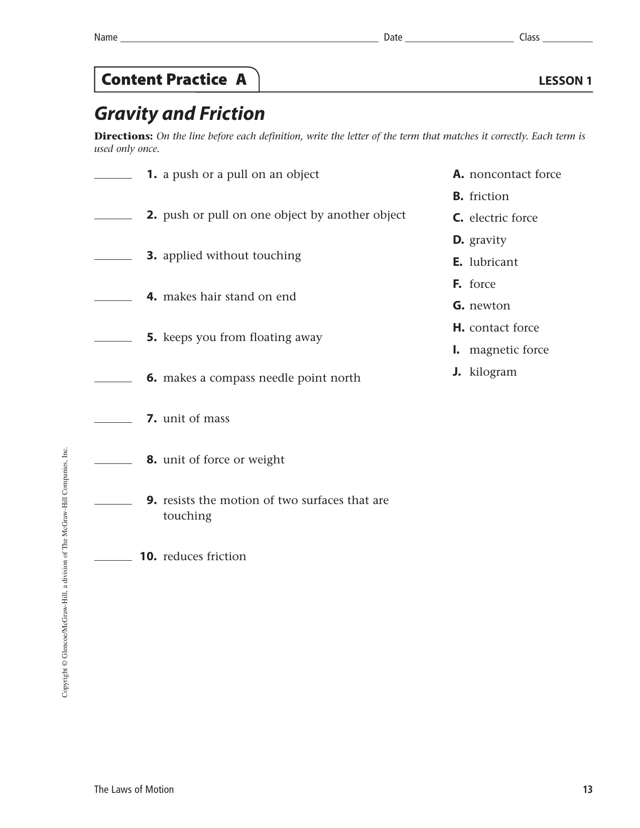Friction And Gravity Worksheet Answers As 1st Grade