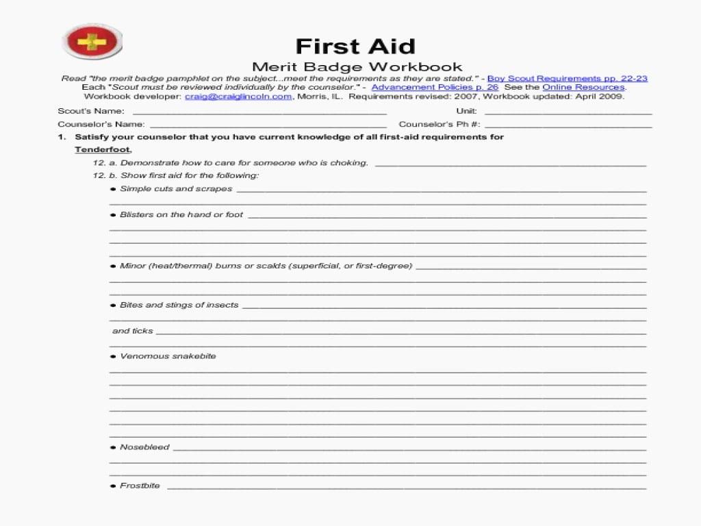 Ft Aid Merit Badge Worksheet Answers Yooob