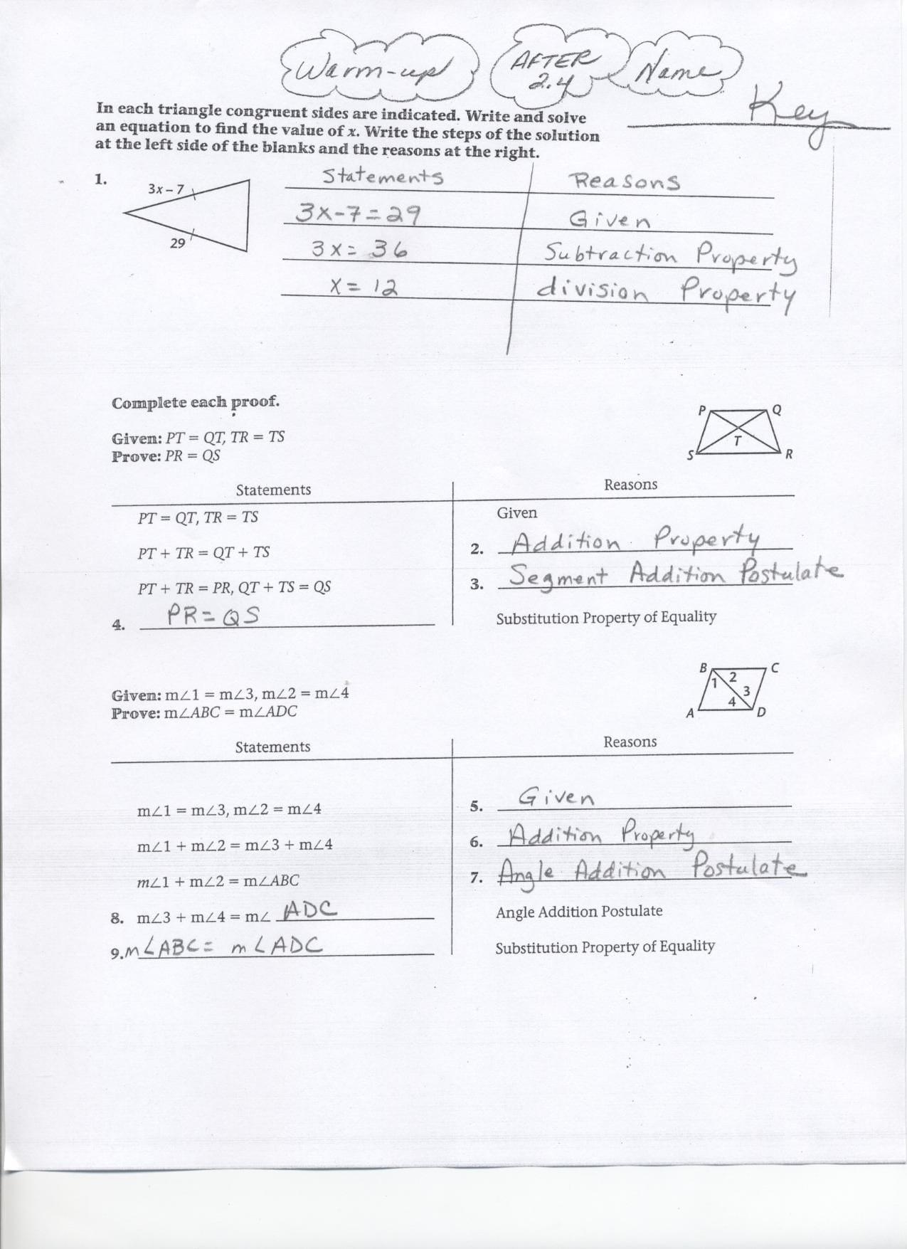 Geometry Segment And Angle Addition Worksheet Answer Key