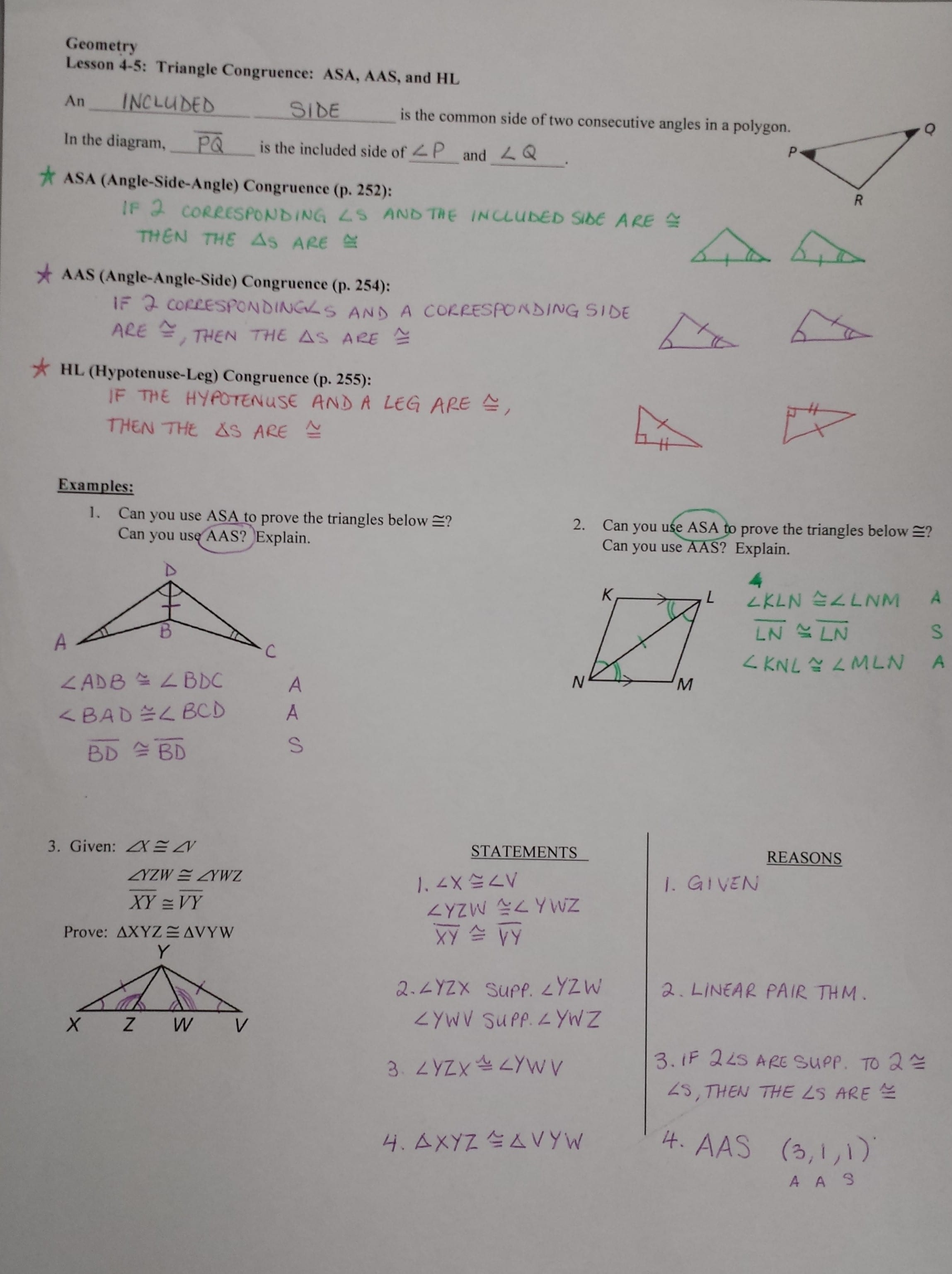 Geometry Worksheet Congruent Triangles Answers Using