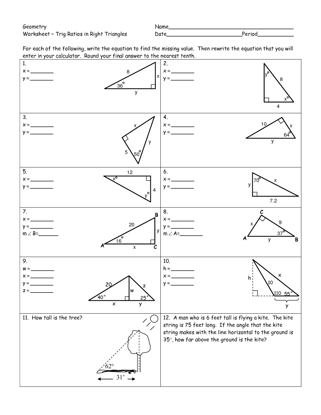 Trigonometry Ratios In Right Triangles Worksheet