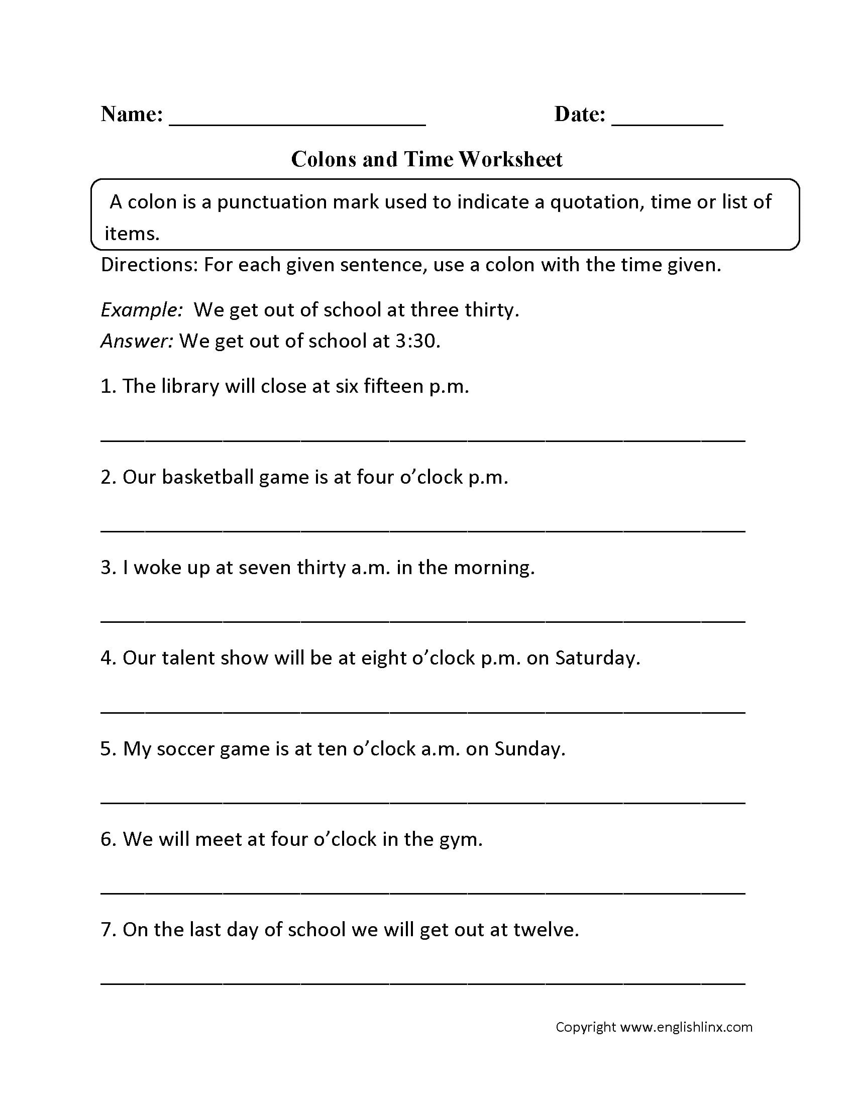 College Grammar Worksheets