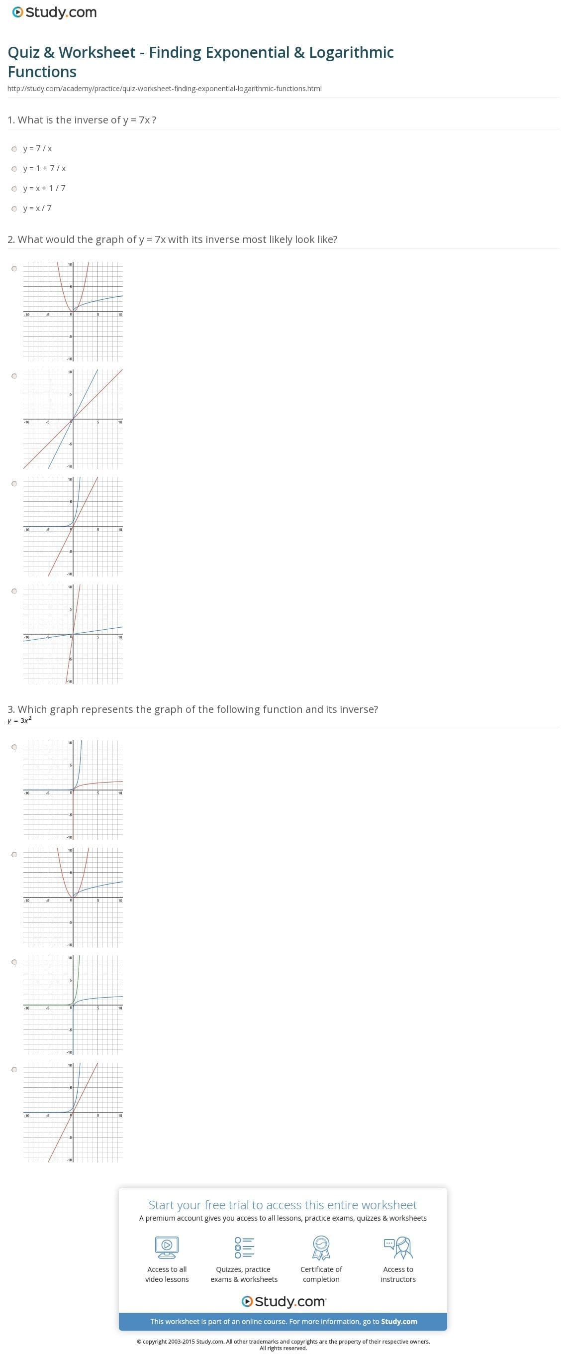 Graphing Exponential Functions Worksheet Algebra 1 Free