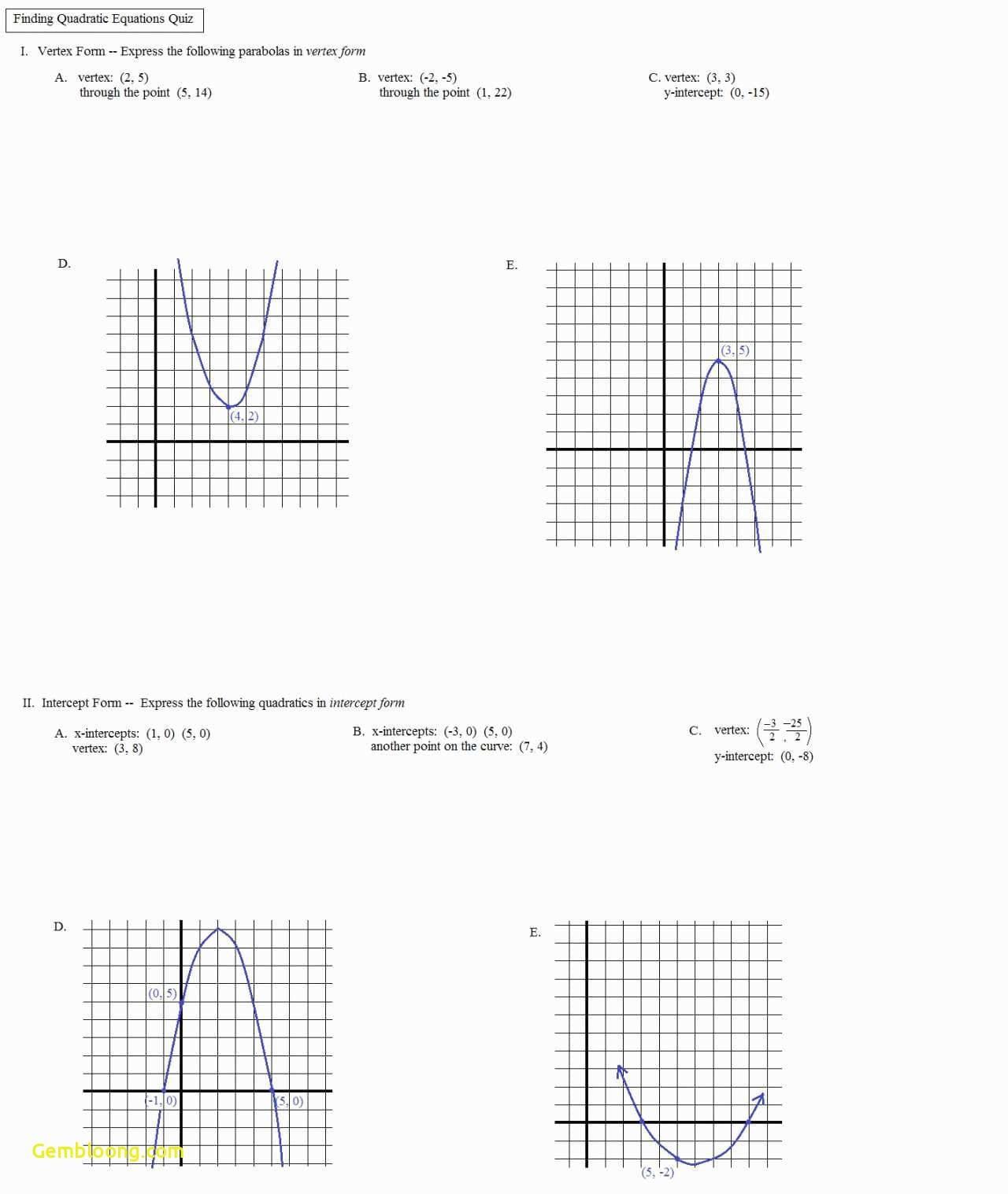 Graphing Quadratics In Standard Form Worksheet