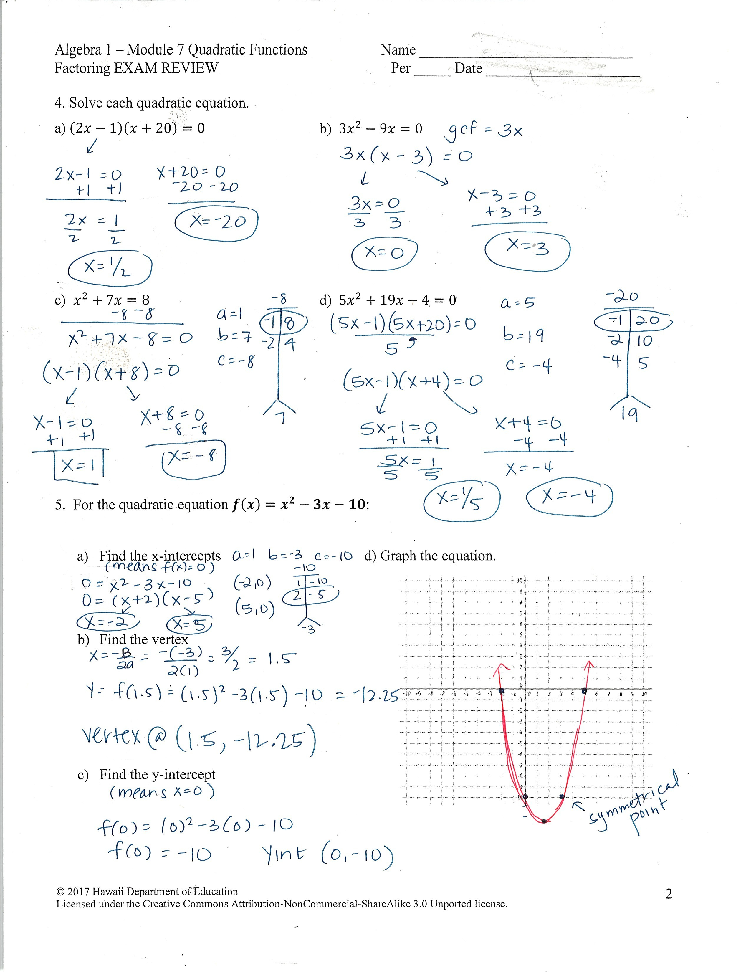 Graphing Quadratics In Standard Form Worksheet Doc